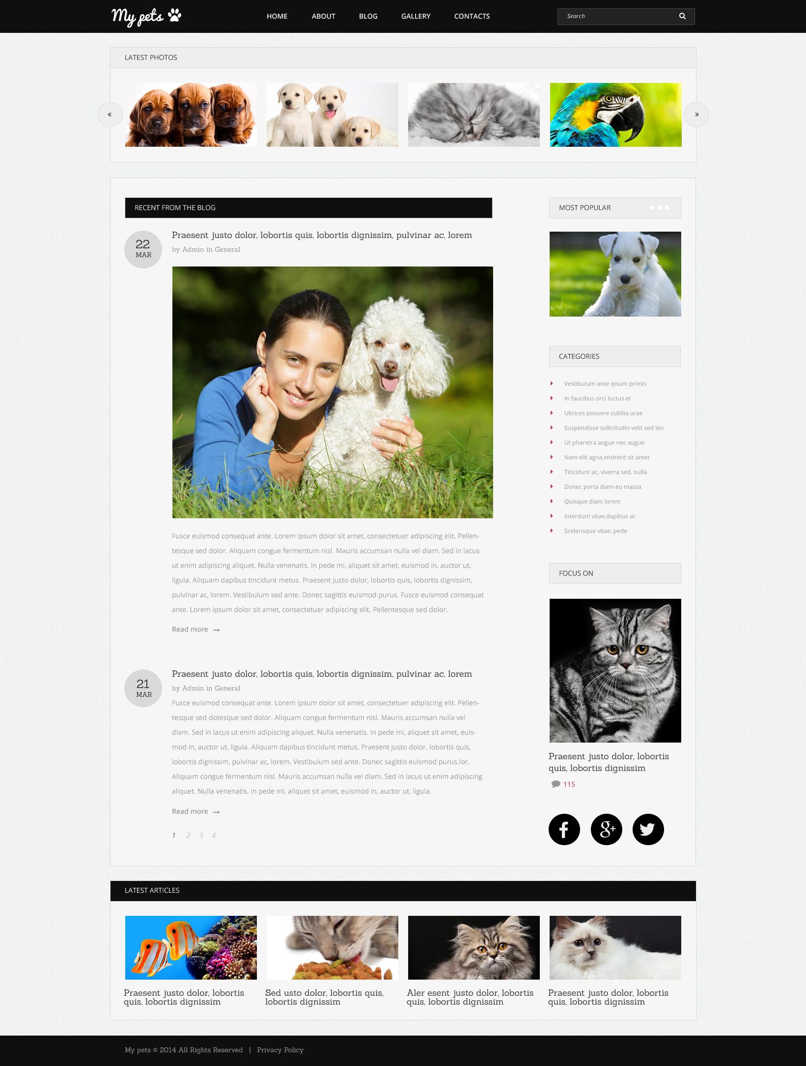 Pets Guide Drupal Template