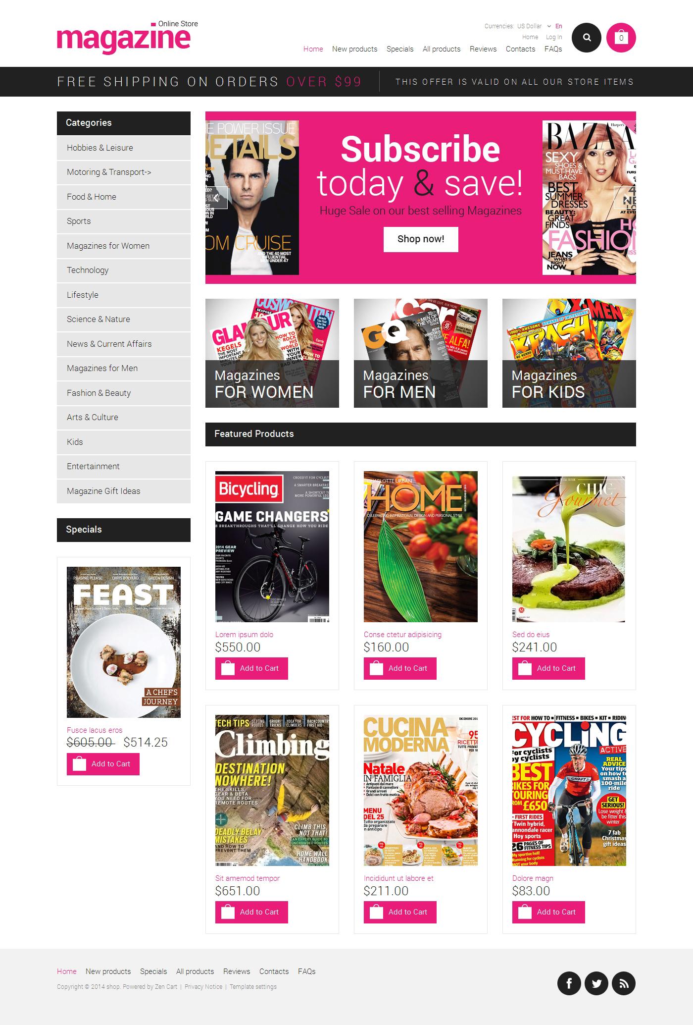 News Portal ZenCart Template