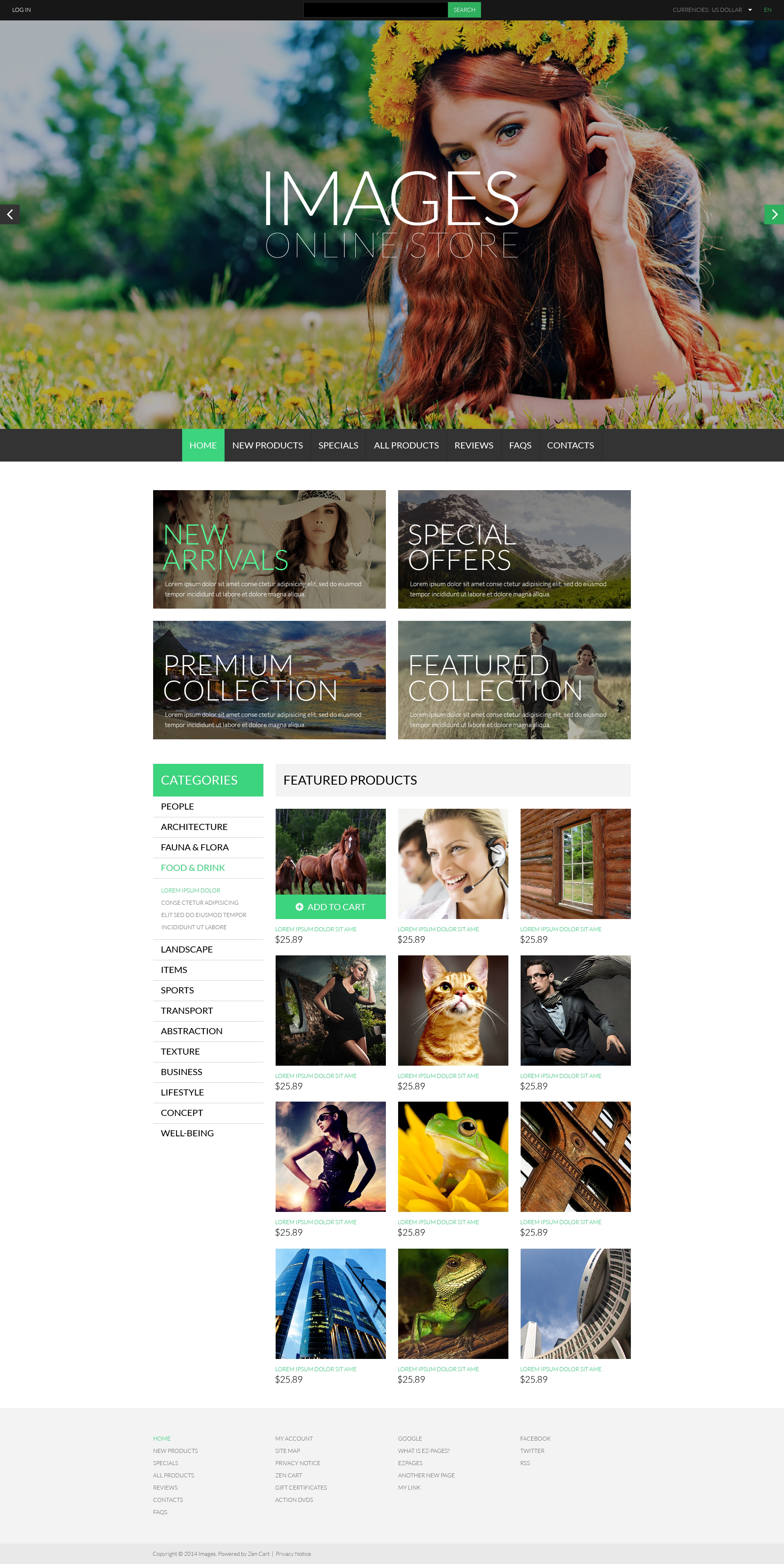 Art  Photography ZenCart Template