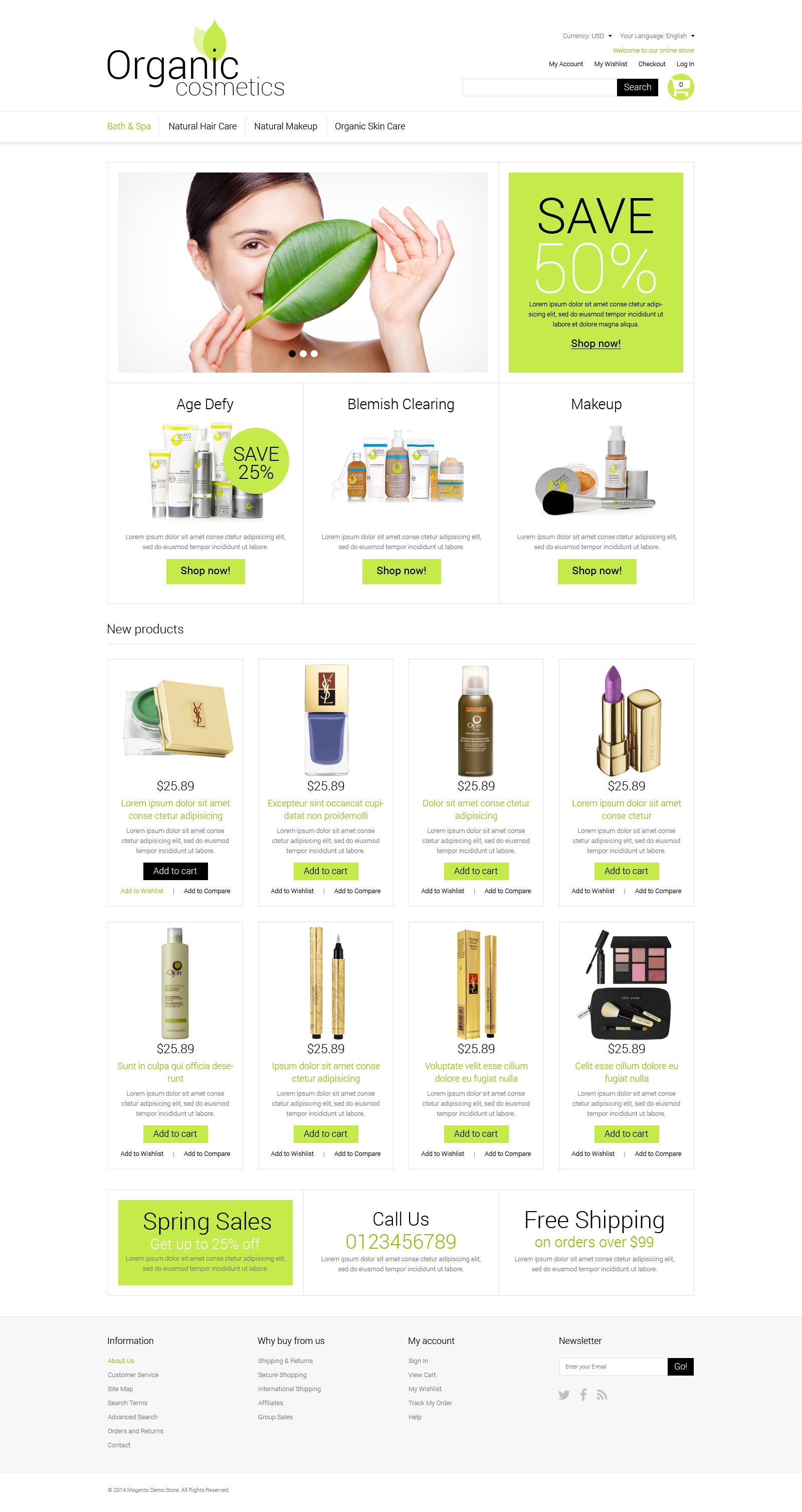 Organic Cosmetics Magento Theme