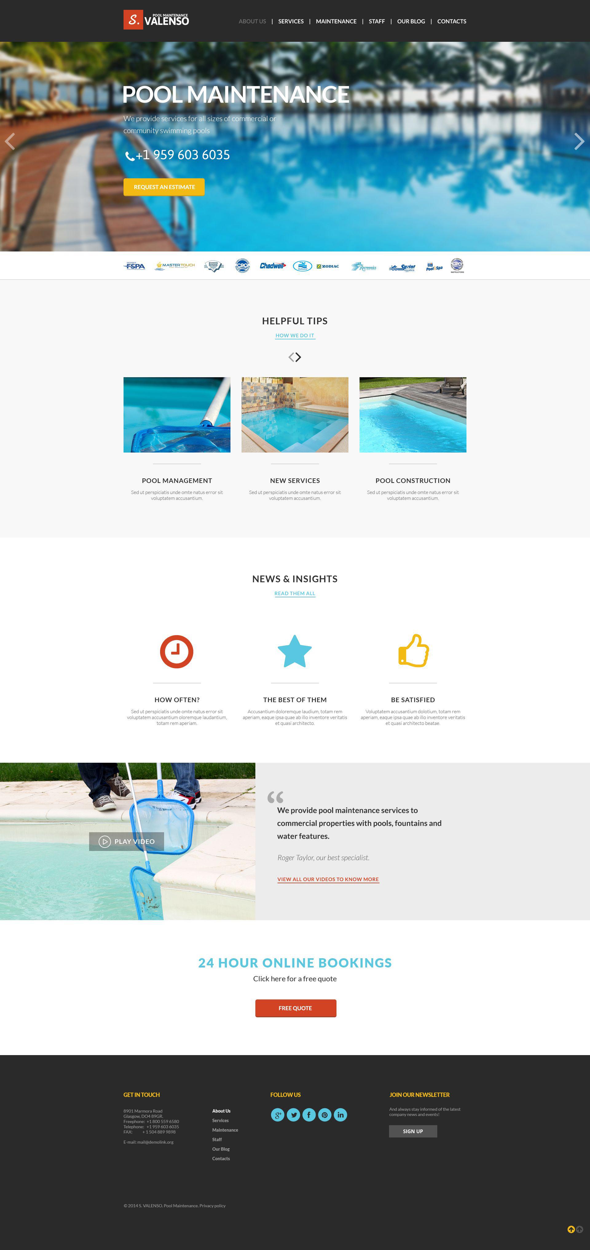 Pool Maintenance Joomla Template