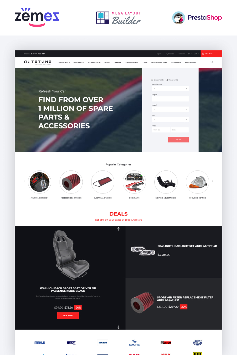 Autotune - Auto Parts Ecommerce Template PrestaShop Theme