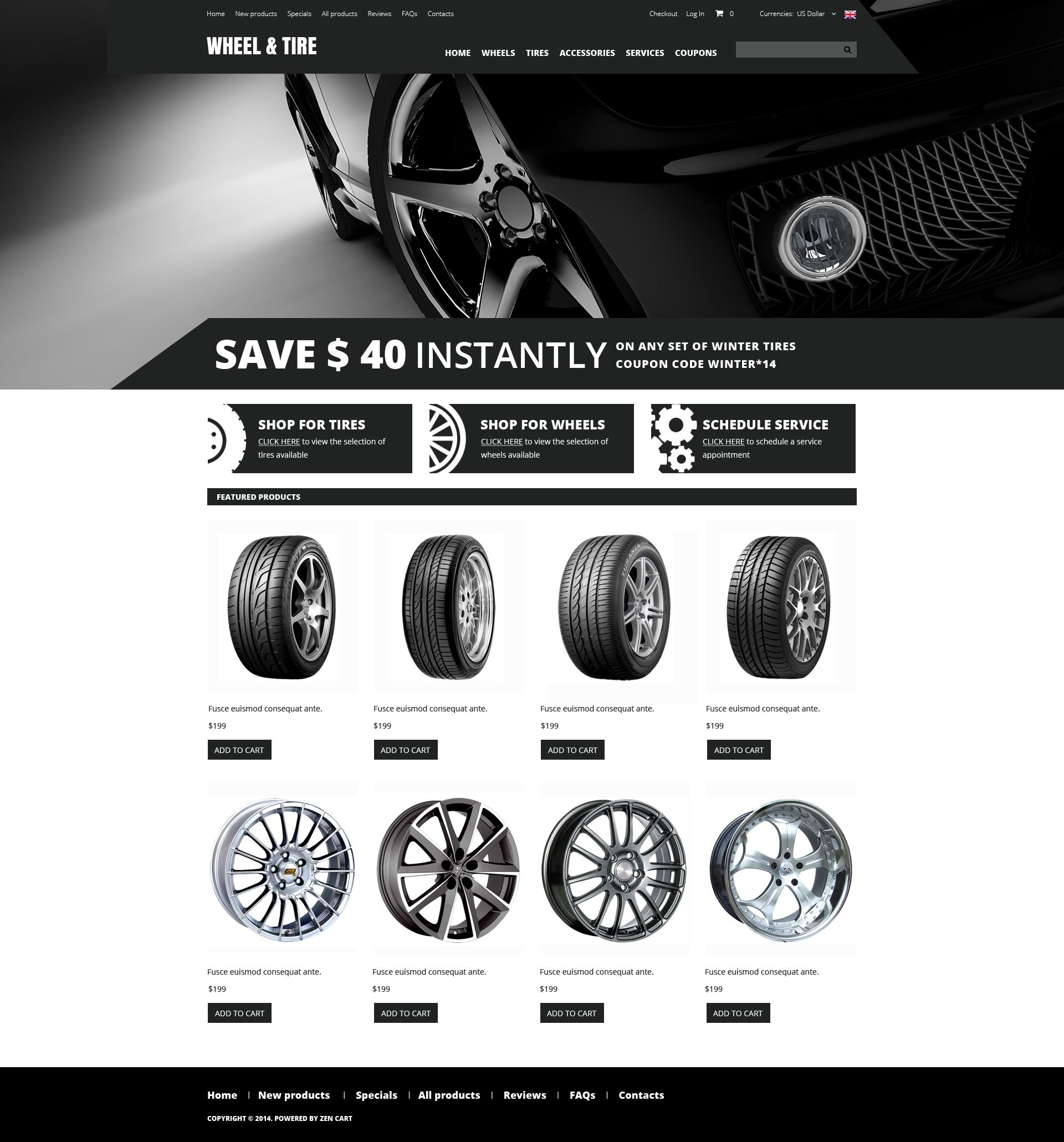 Wheels and Tyres ZenCart Template