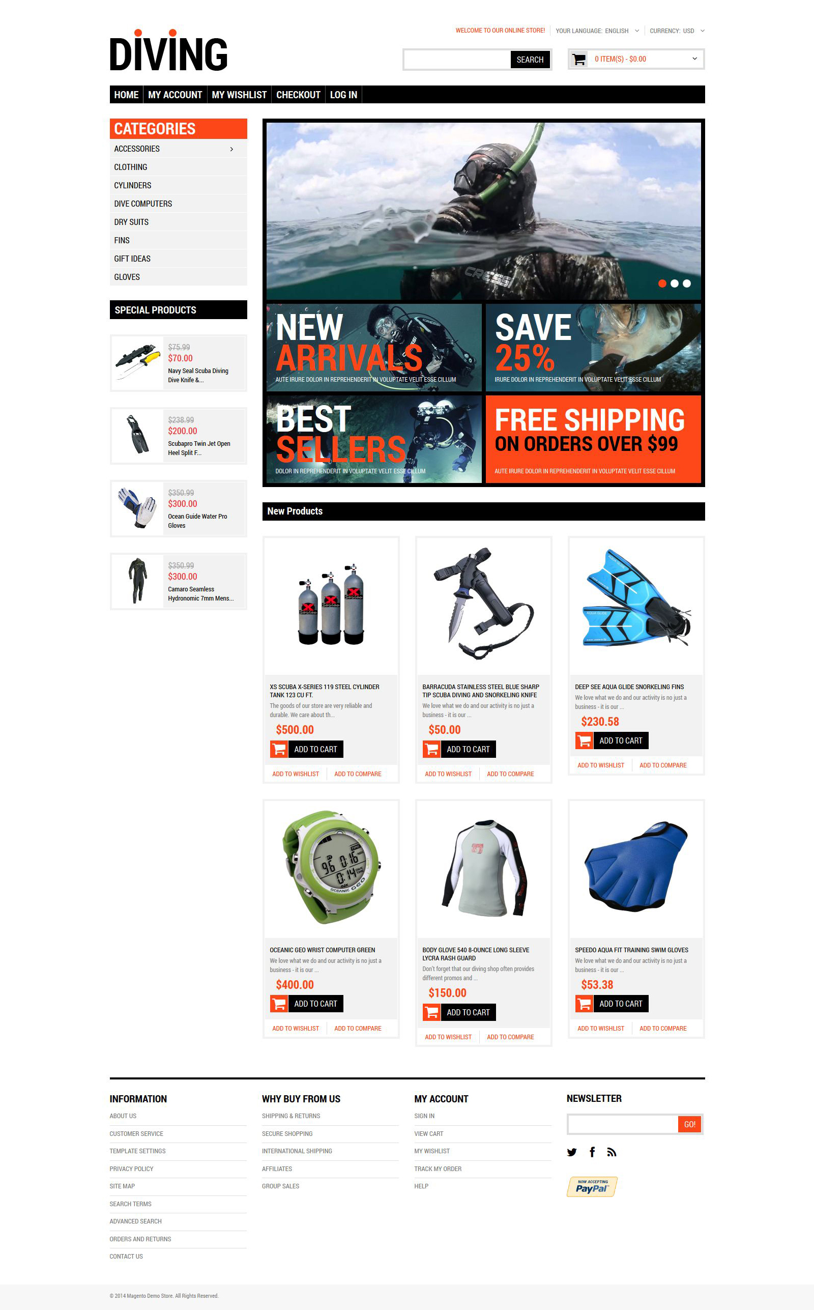 Diving Shop Magento Theme