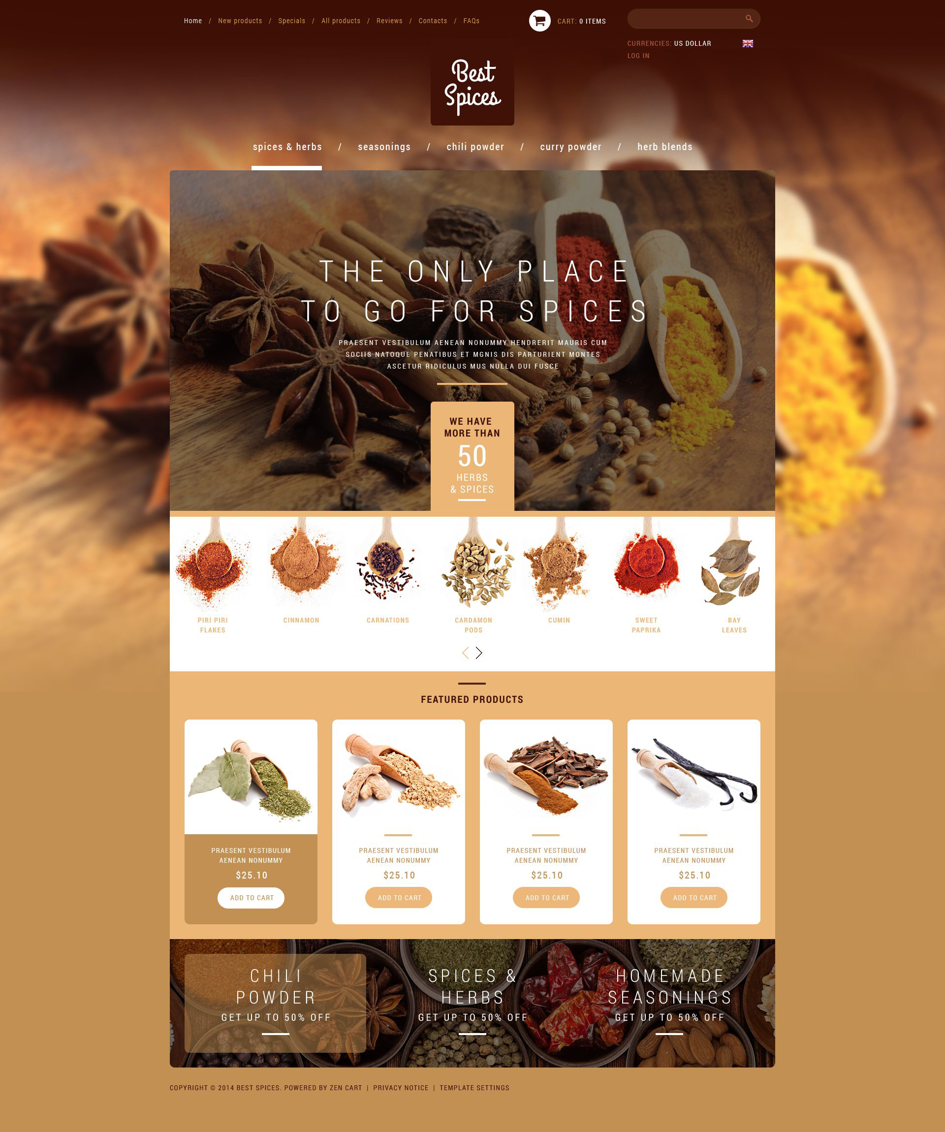 Refined Spices  Herbs ZenCart Template