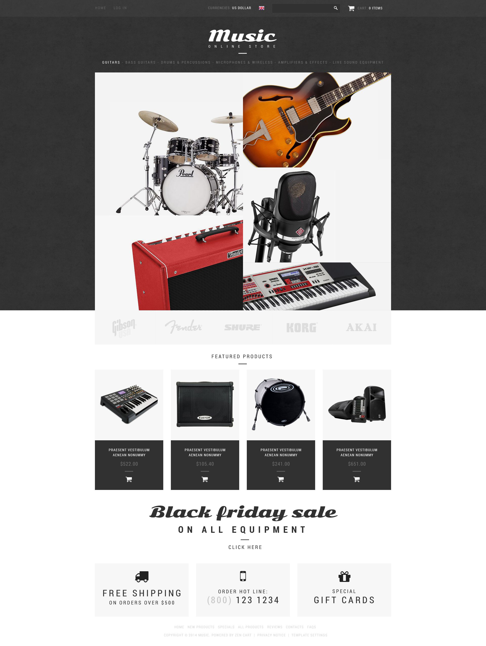 Music Shop ZenCart Template