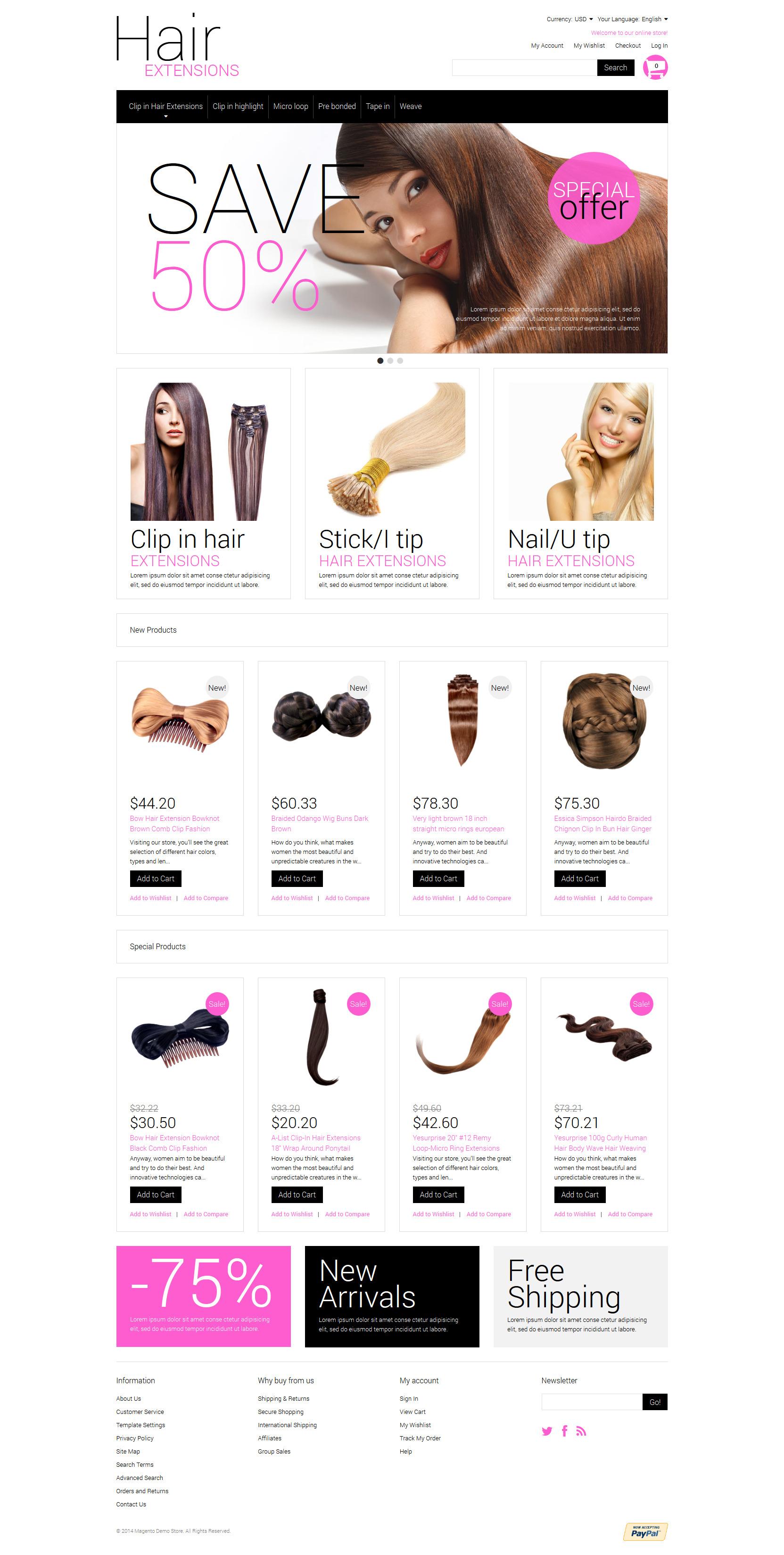Multipurpose Hair Extensions Magento Theme