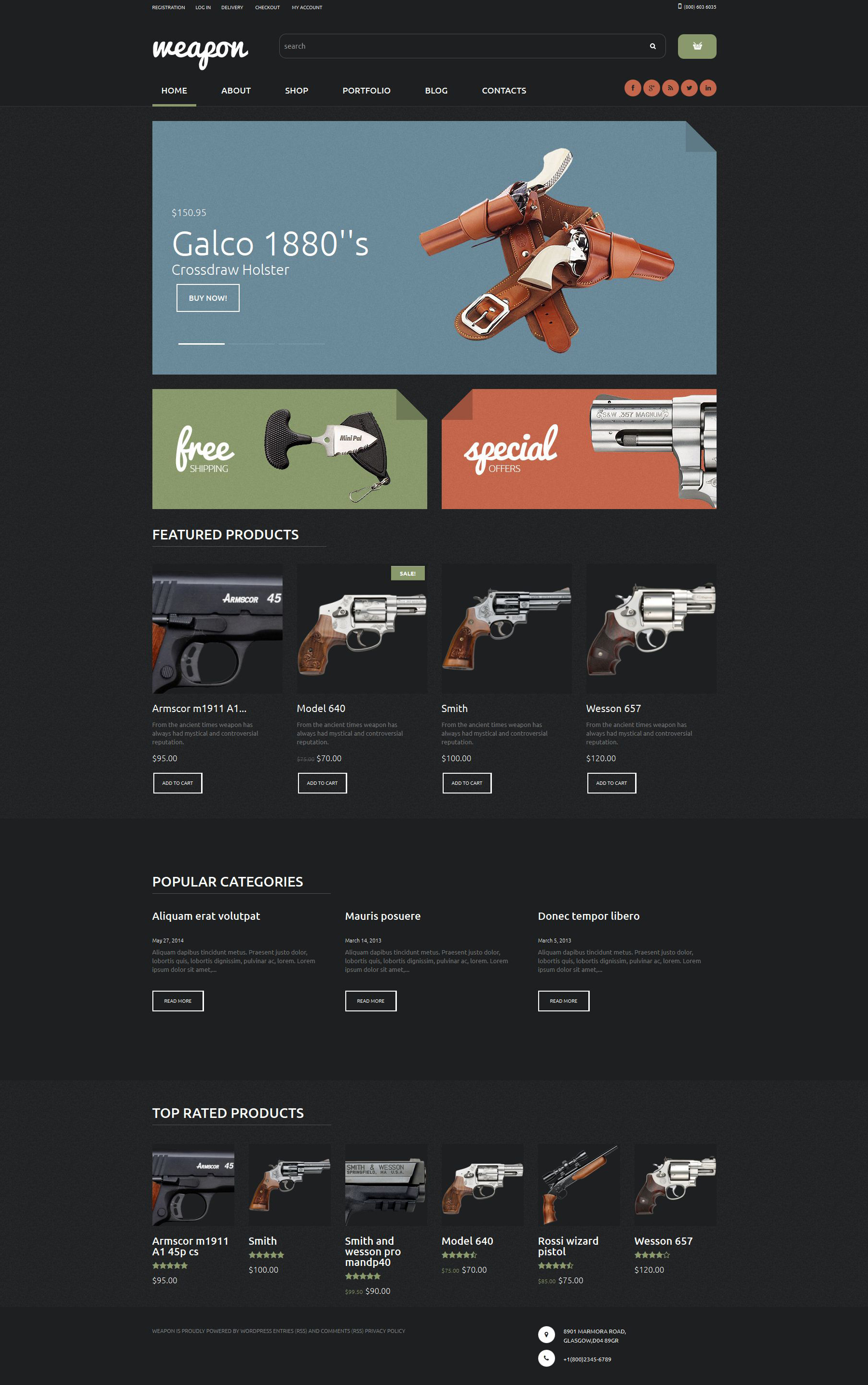 Weapon Shop WooCommerce Theme