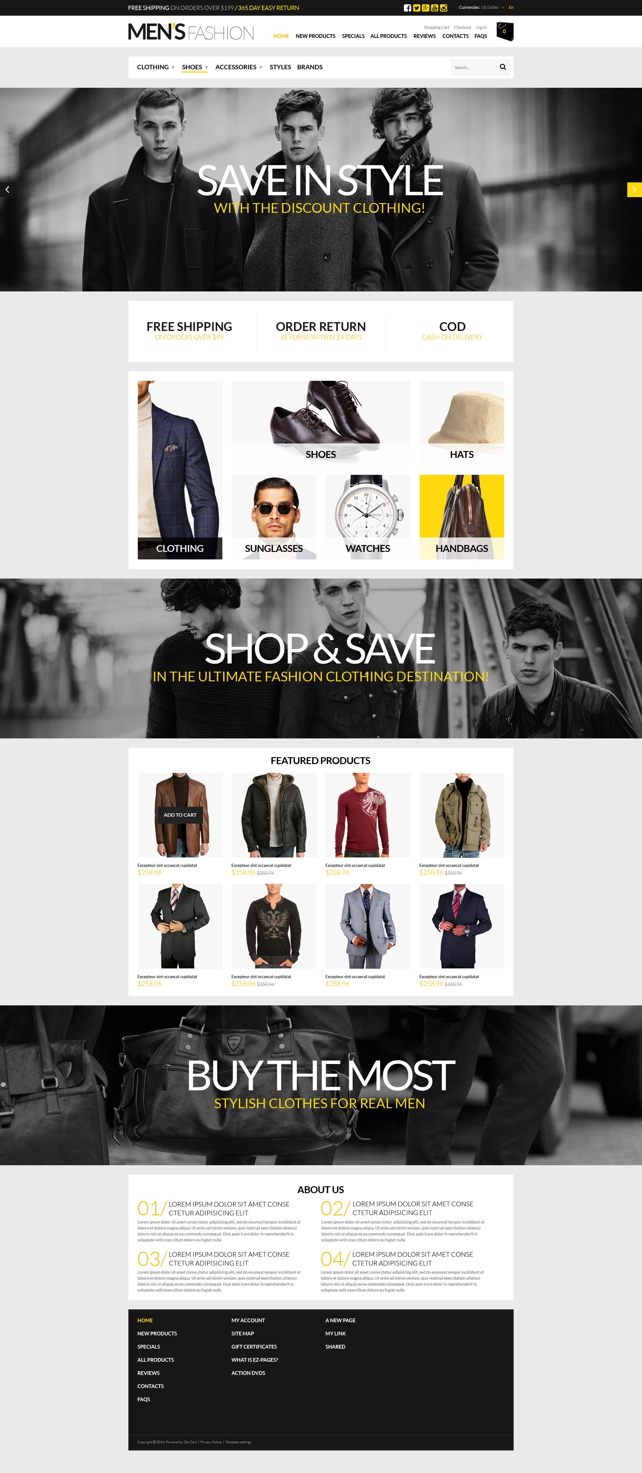 Ultimate Mens Shopping Spot ZenCart Template