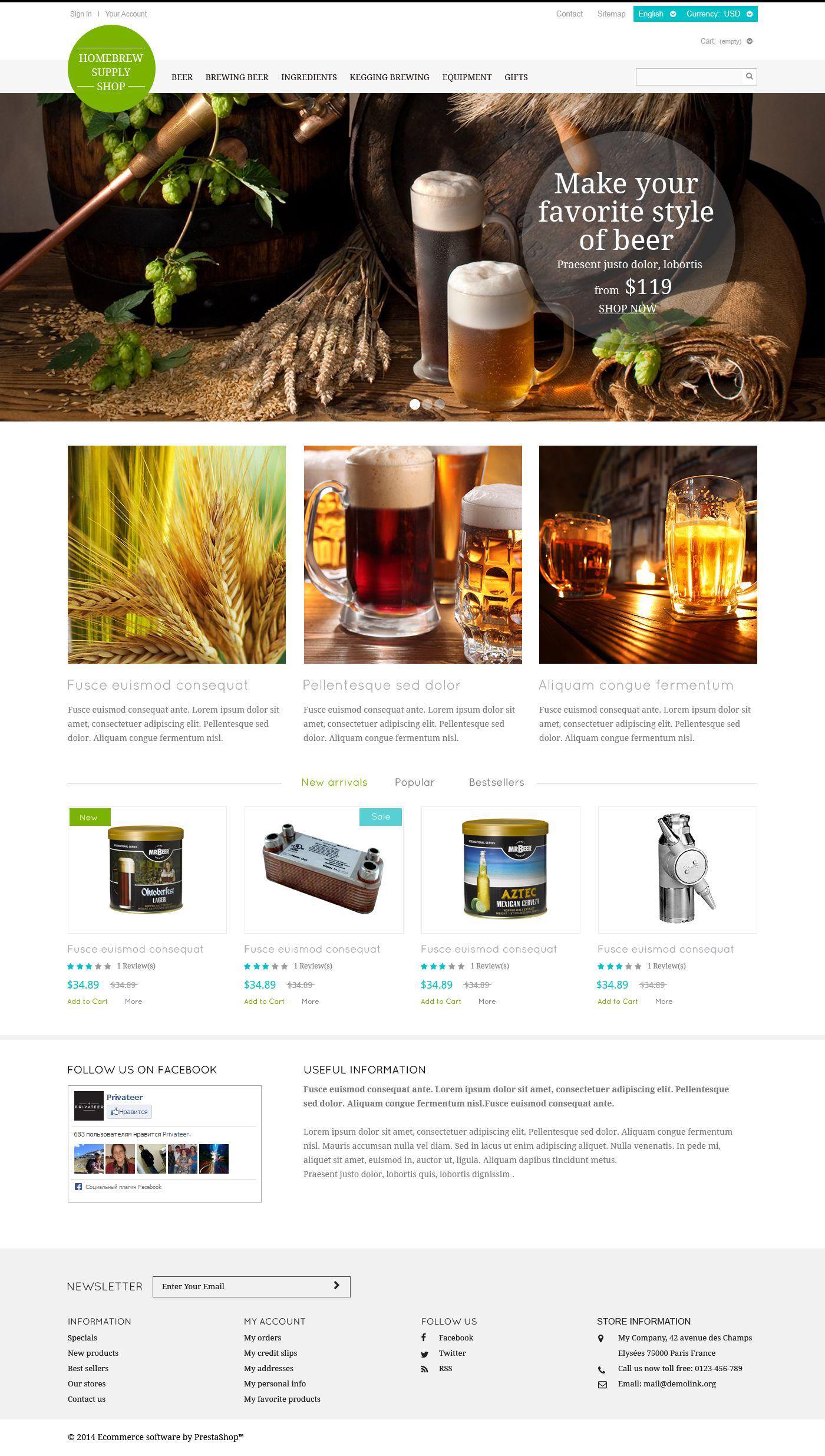 Brewery Responsive PrestaShop Theme