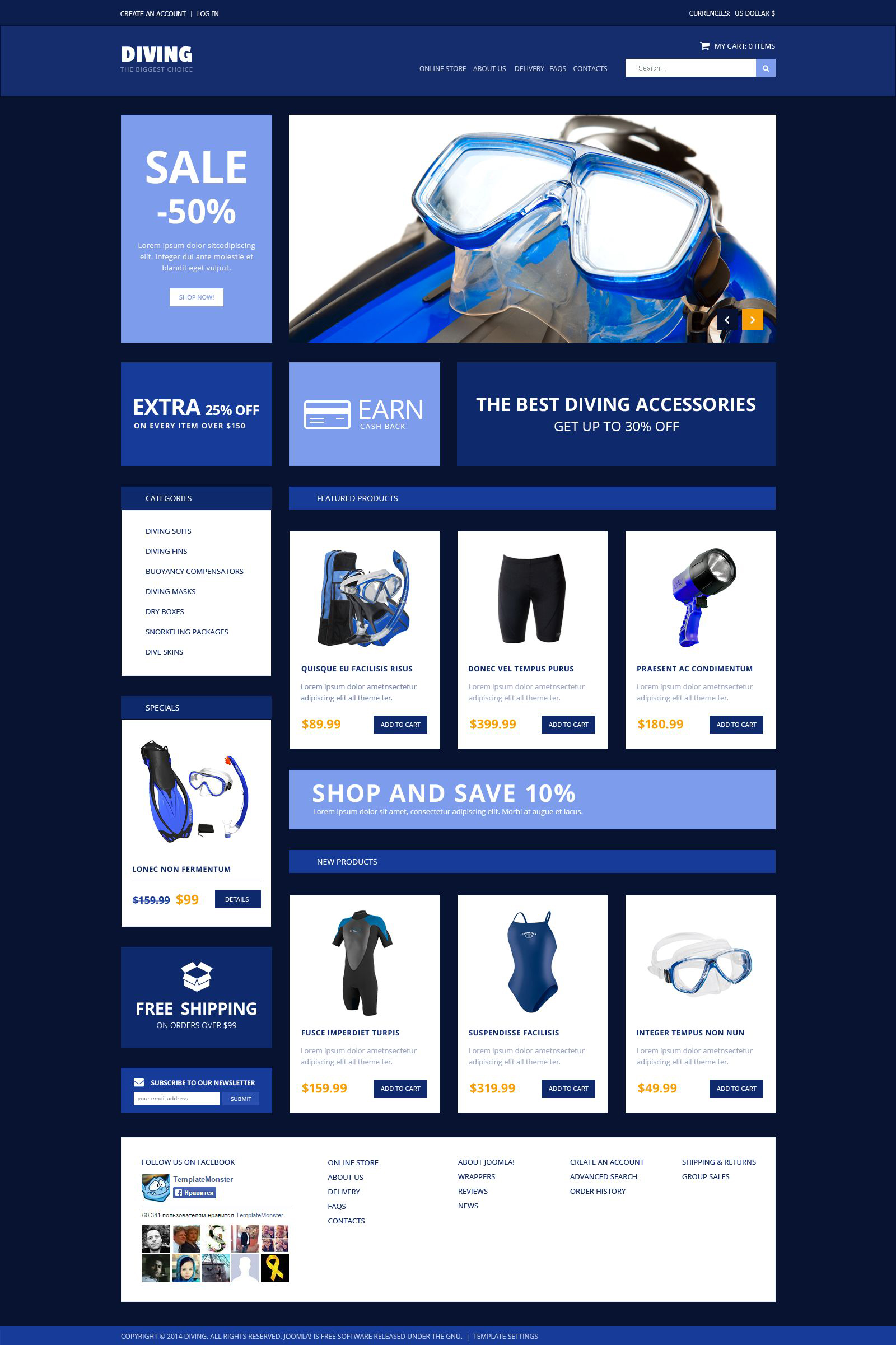 Diving Accessories VirtueMart Template