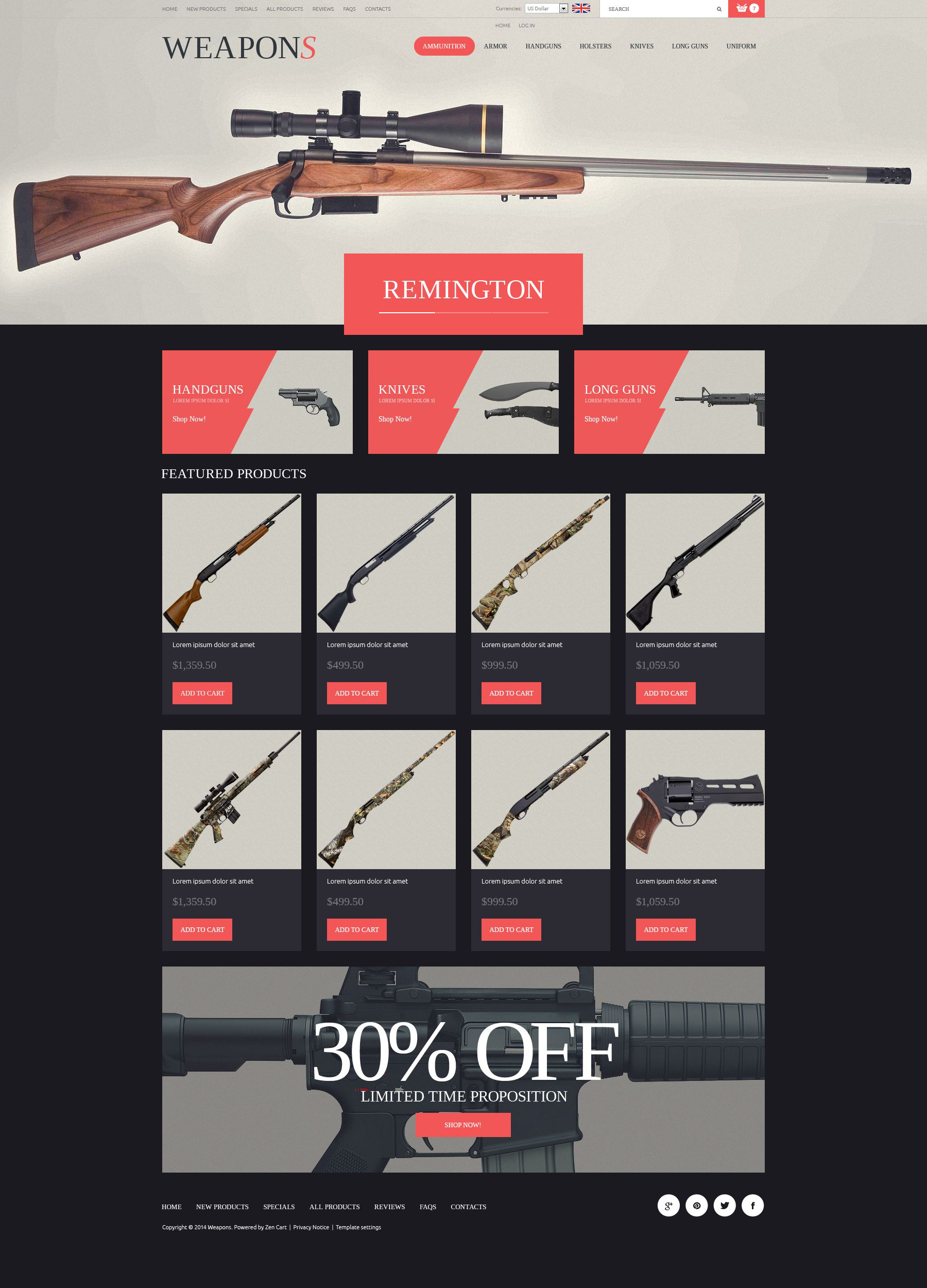 Weapon Slider ZenCart Template