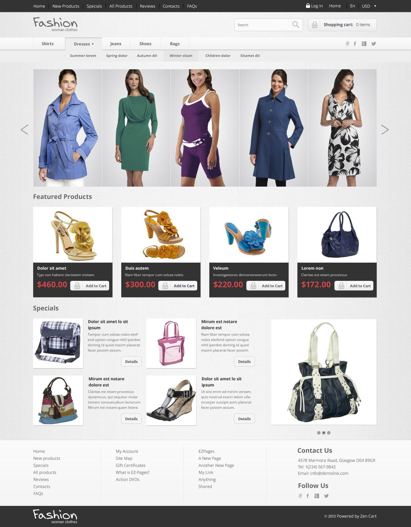 Fashion Store ZenCart Template