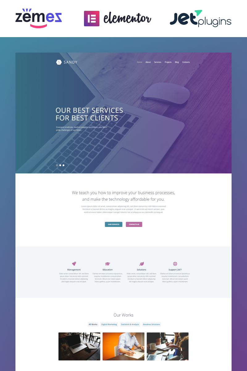 Sandy - Web Design Website Template with Elementor Builder WordPress Theme