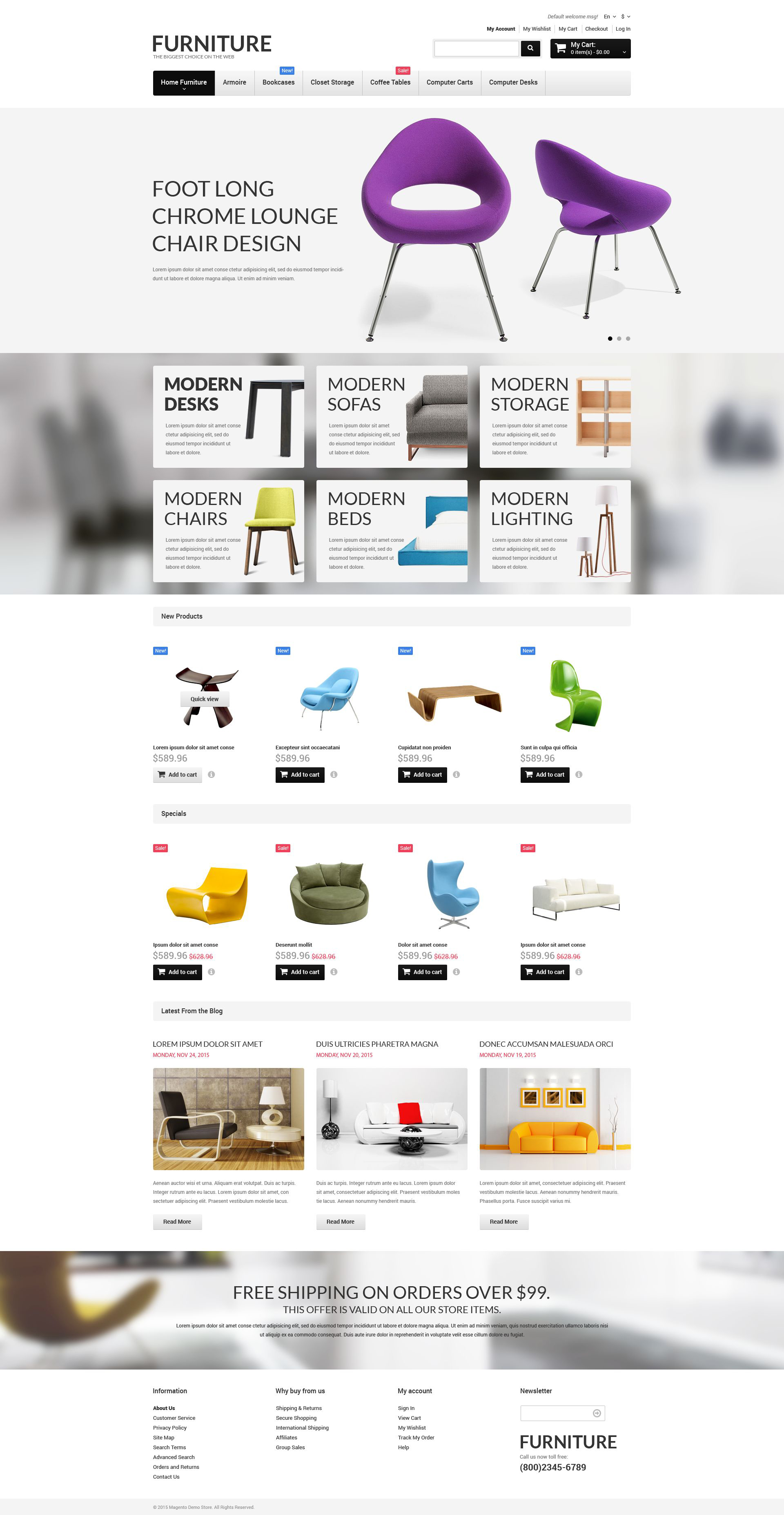 Template 52645 : Furniture Responsive Magento Theme Website | Brobst