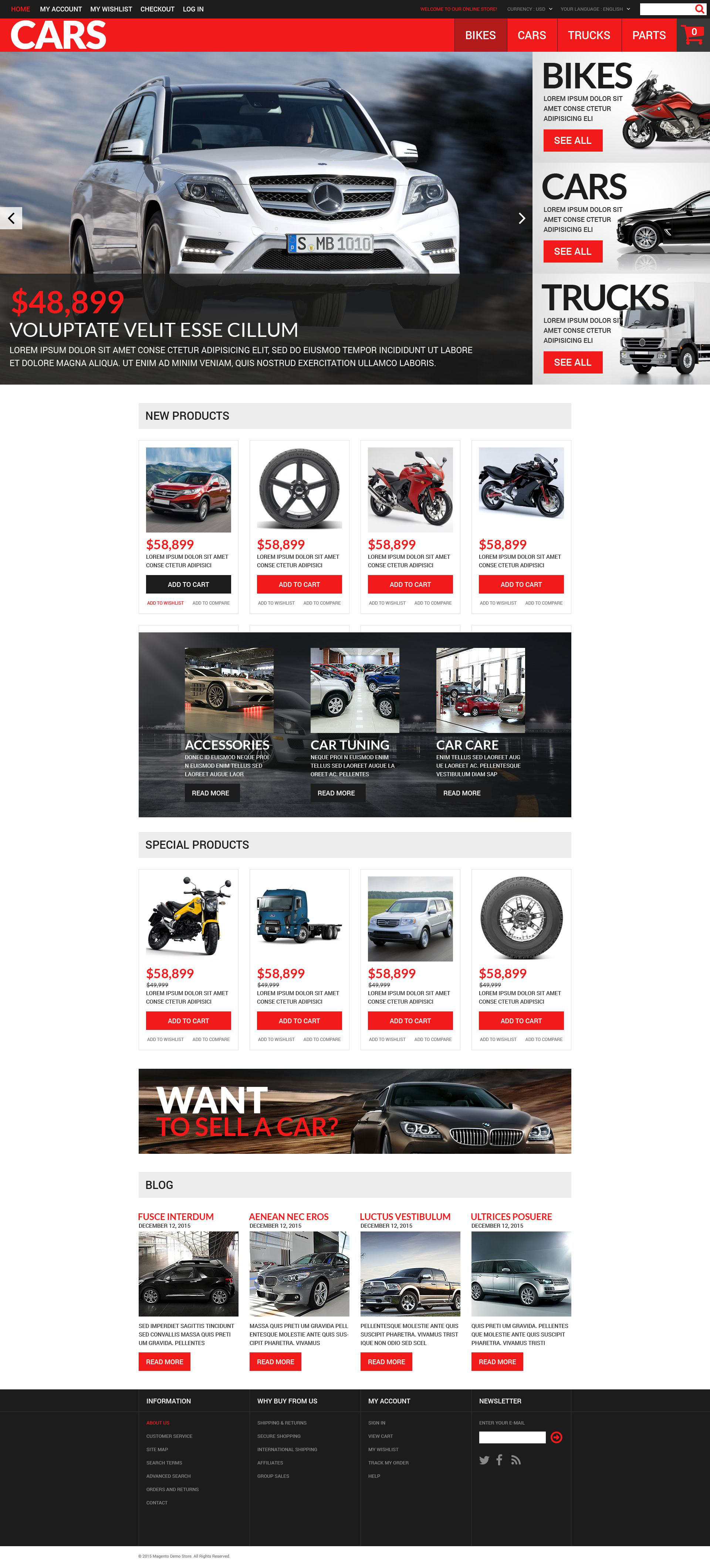 Successful Auto Dealers Magento Theme