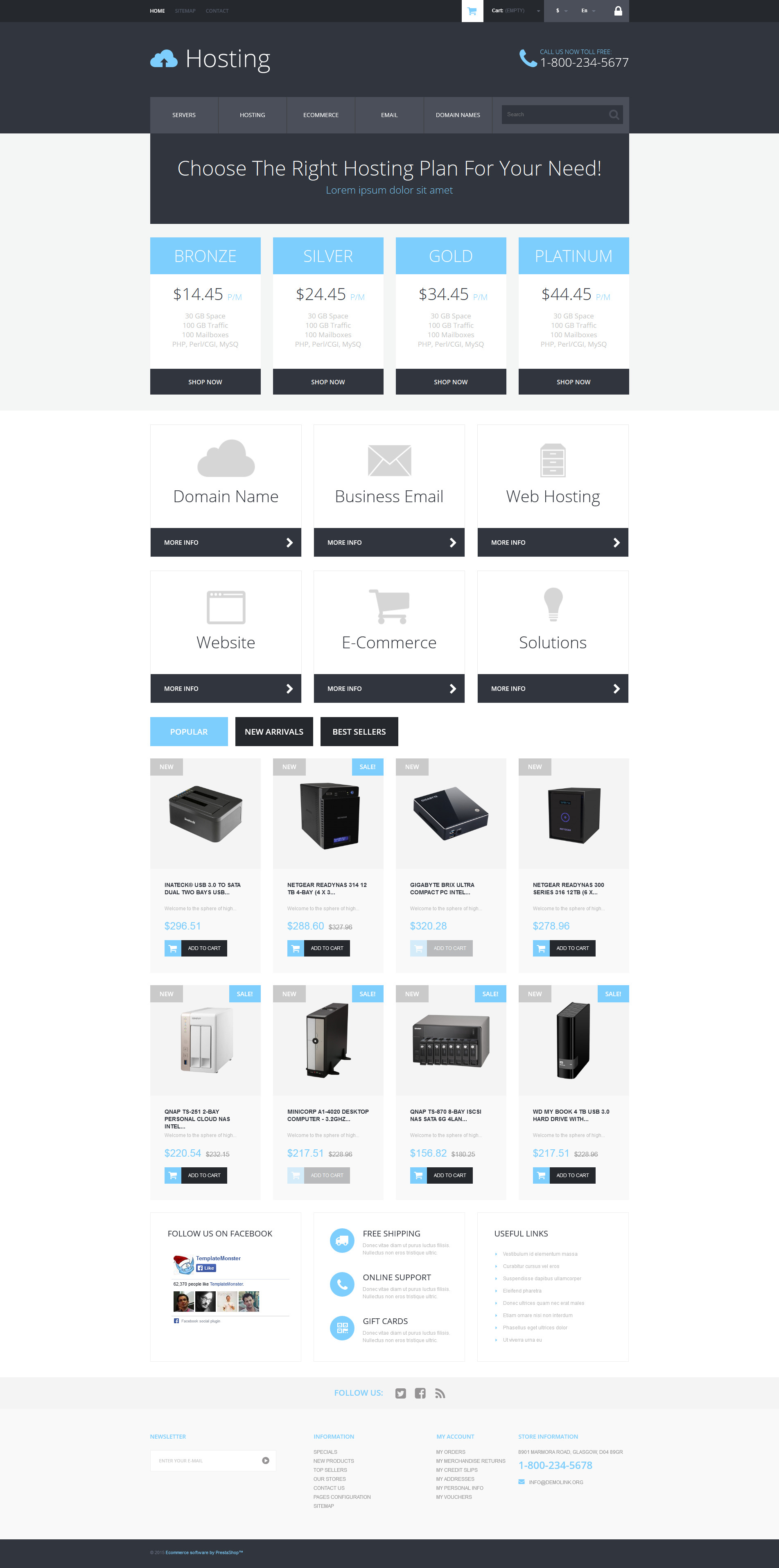 Hosting Services Provider PrestaShop Theme