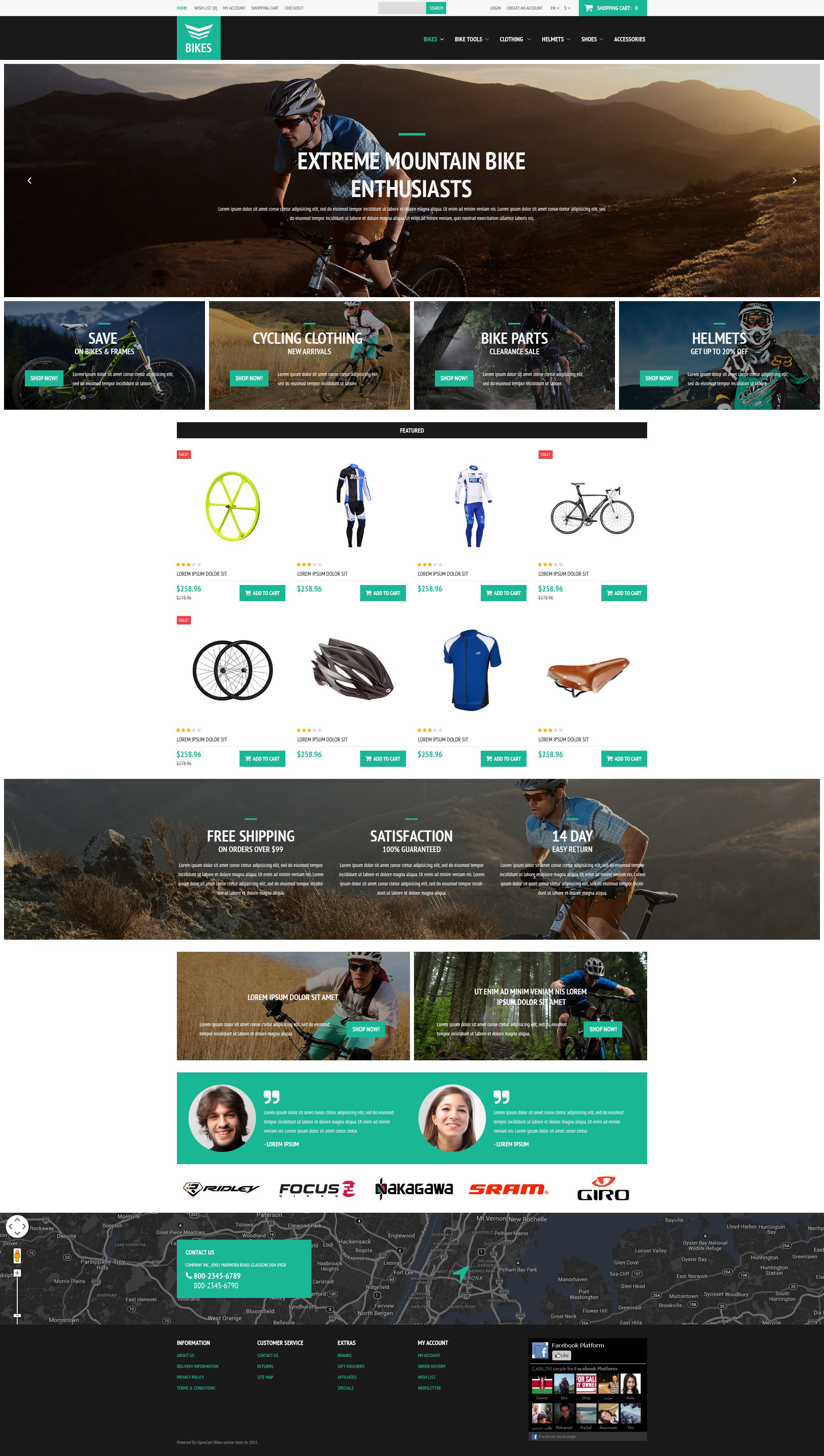 Cycling Equipment OpenCart Template