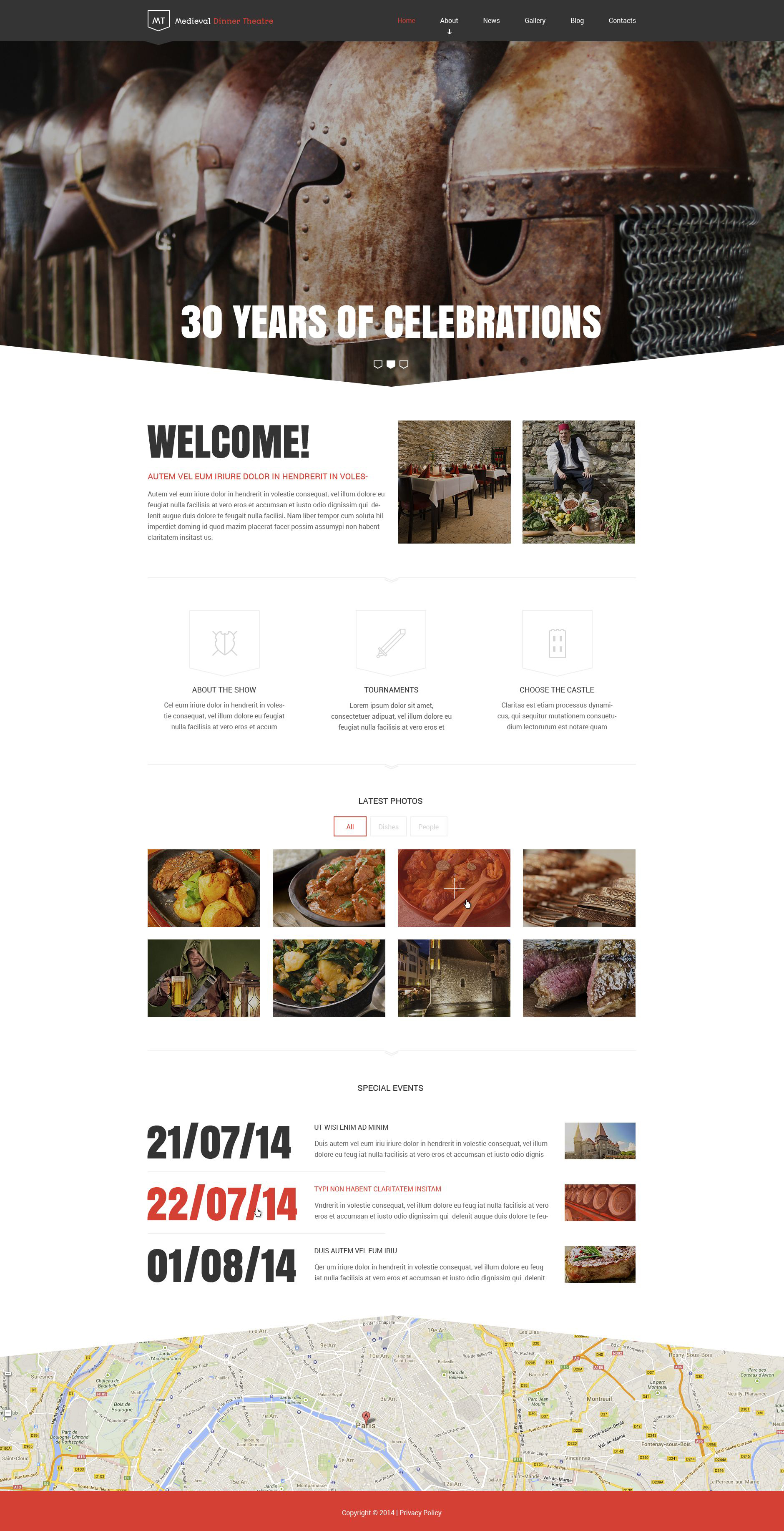 Medieval Dinner Theatre Drupal Template