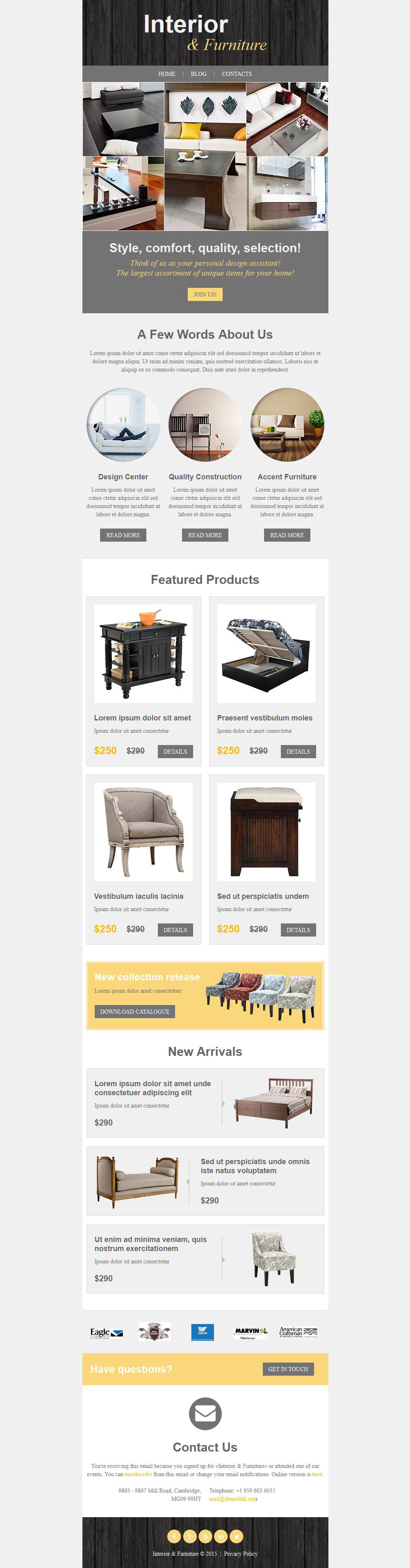 Interior & Furniture Responsive Newsletter Template