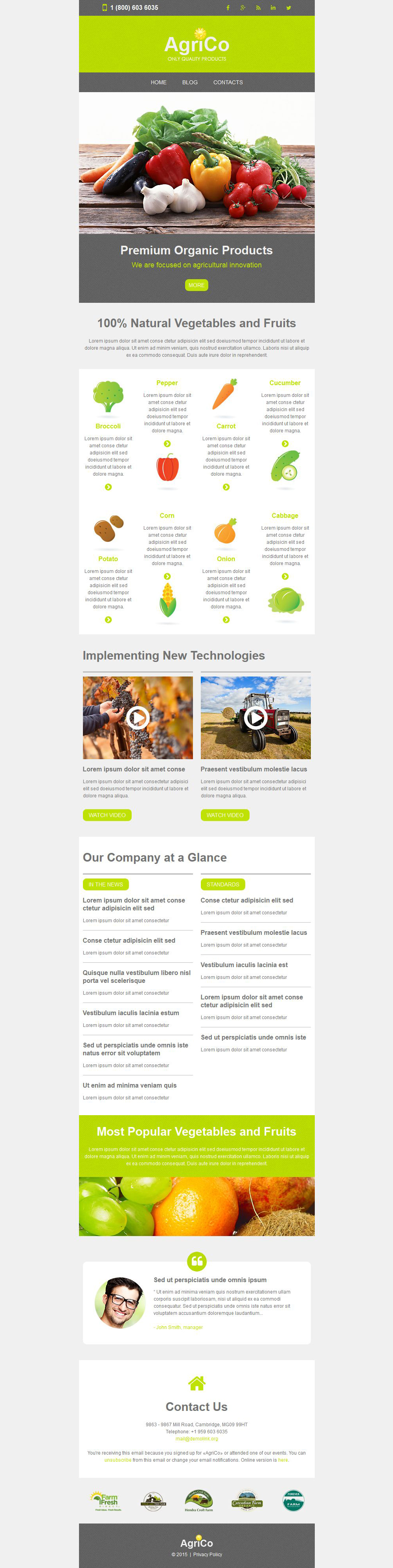 Agriculture Responsive Newsletter Template