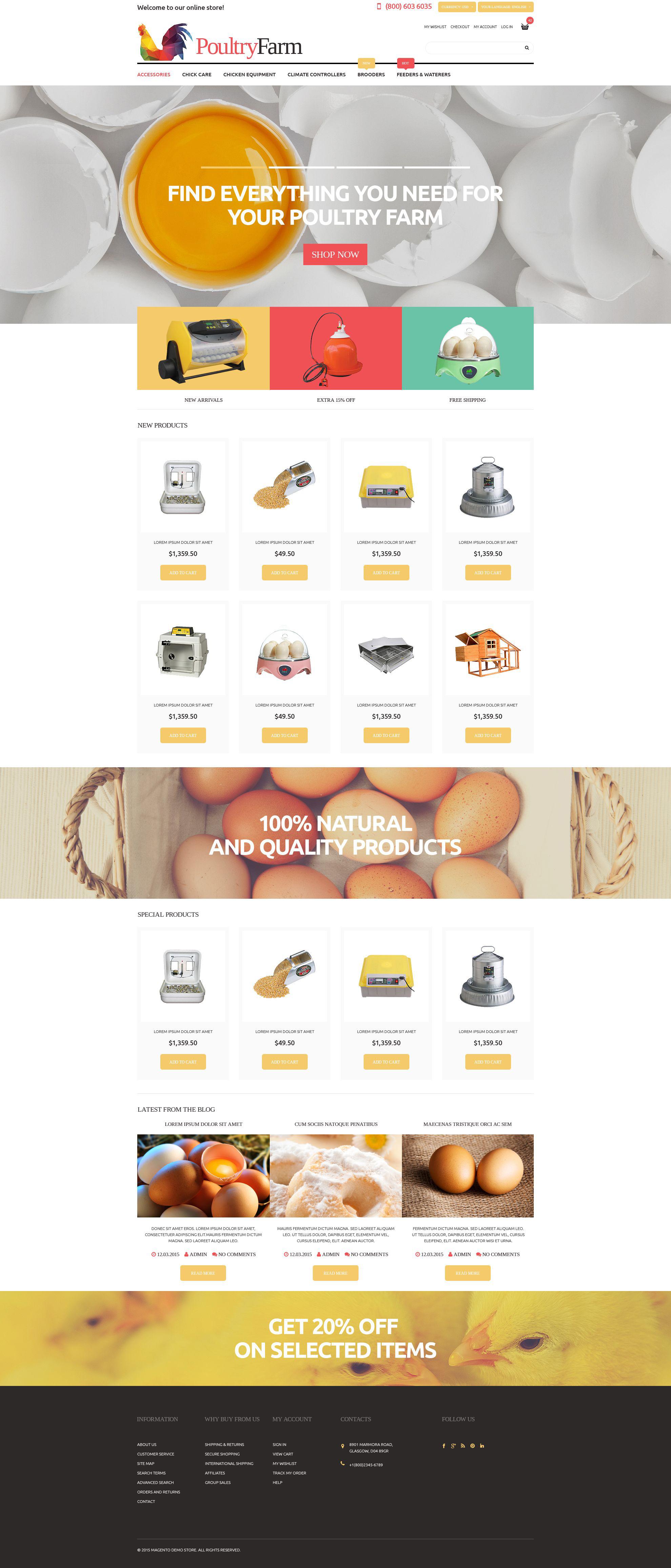 Poultry Farm Supplies Store Magento Theme