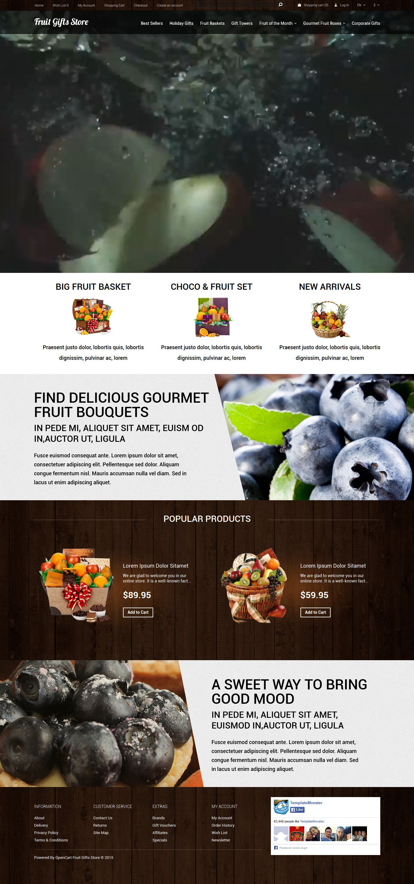 Fruit Gifts Store OpenCart Template