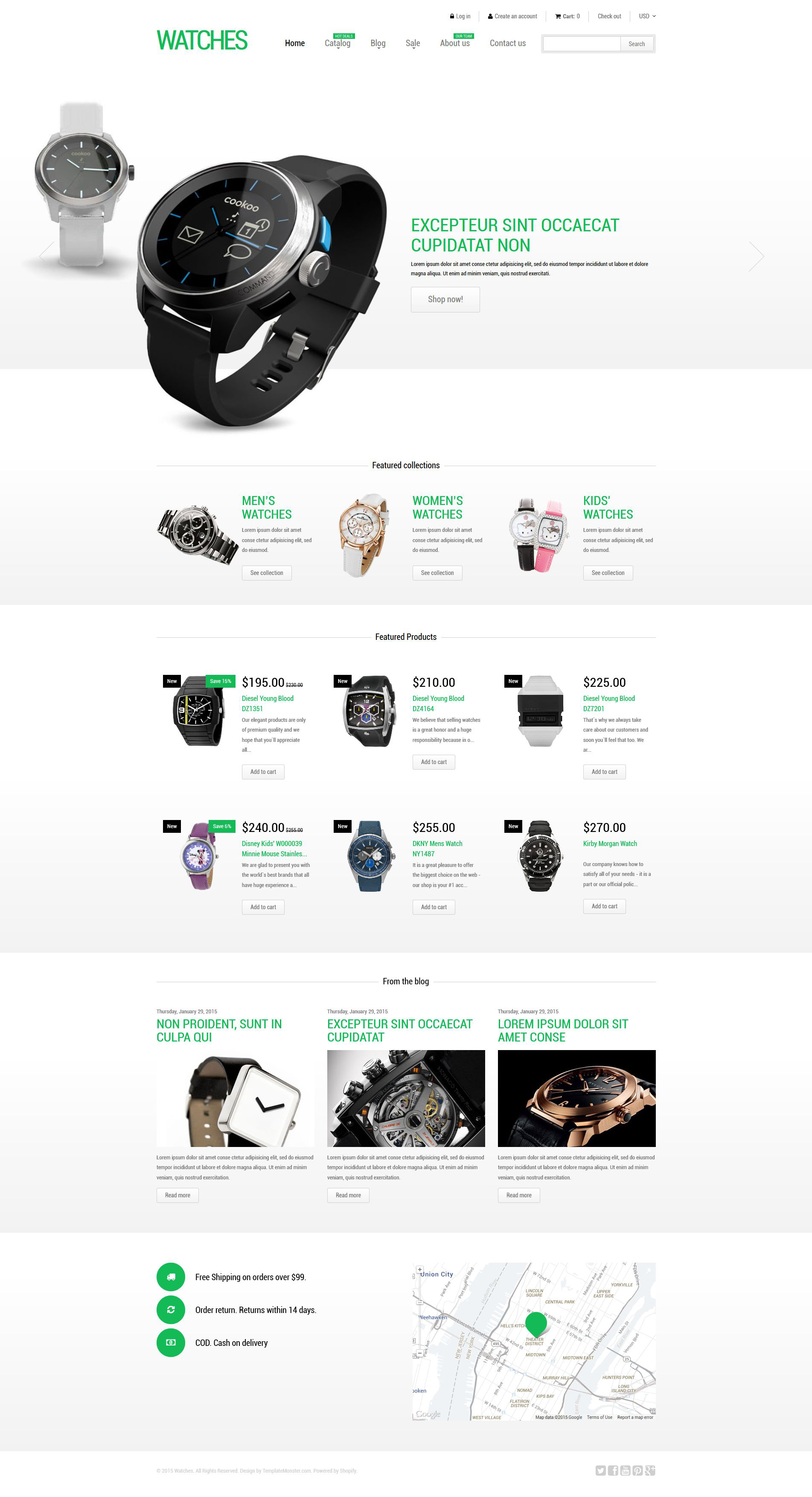 Template 53079 : Stylish Watches Shopify Theme Website | Brobst Systems