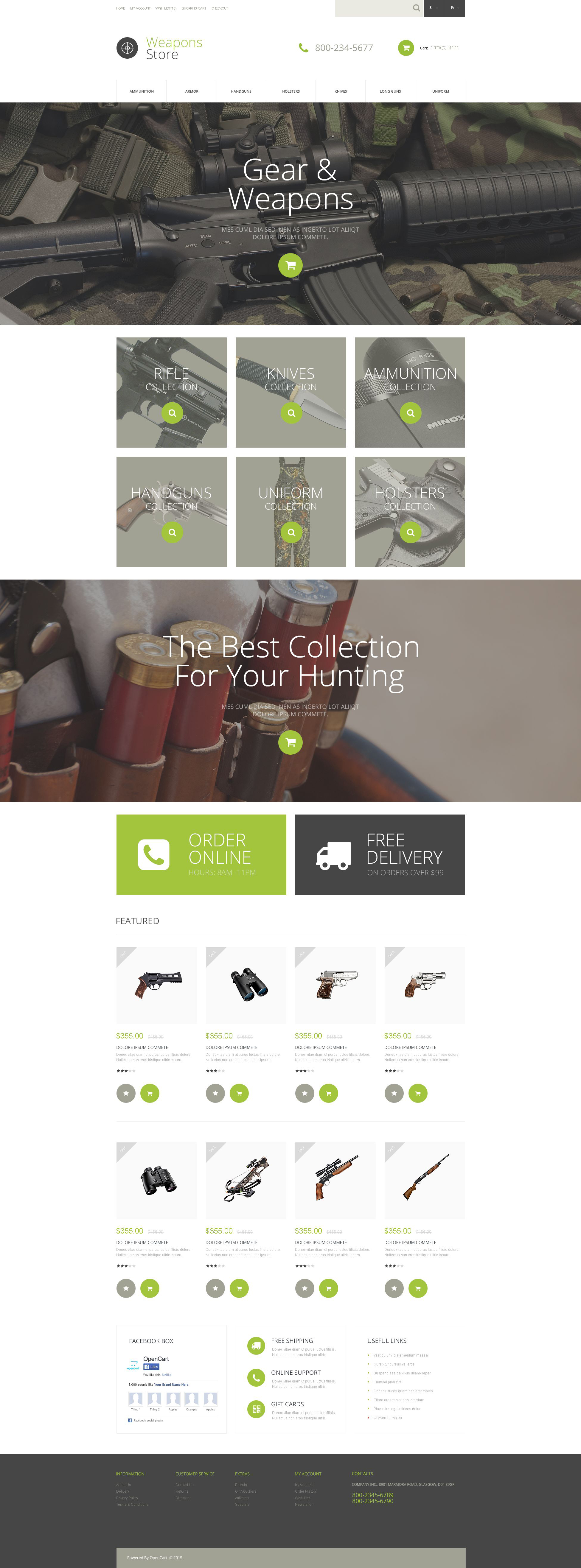 Weapons Collection OpenCart Template