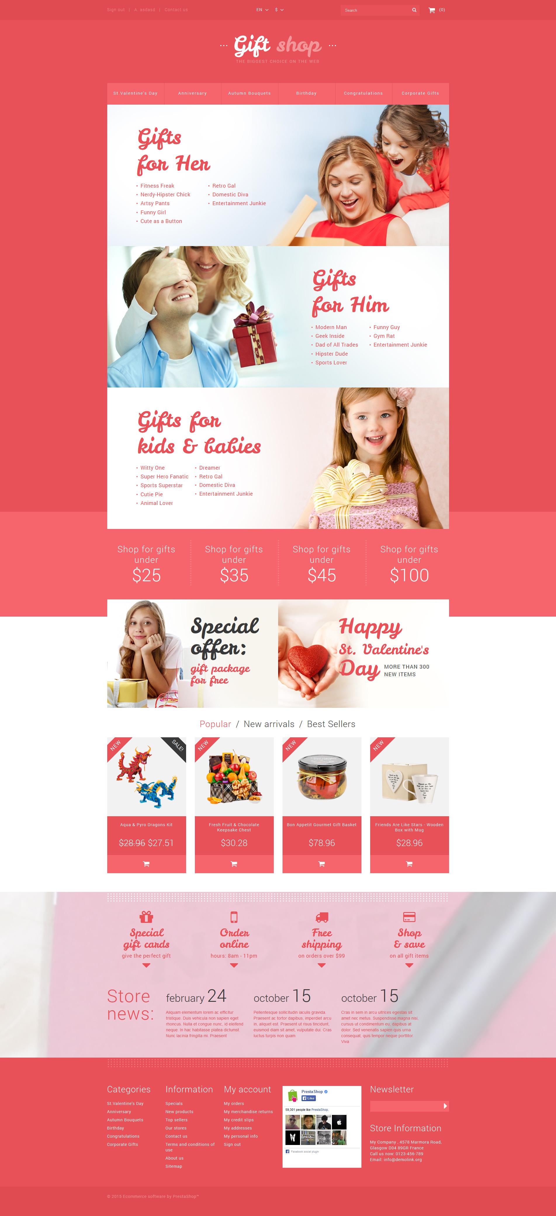 Online Gifts Shop PrestaShop Theme