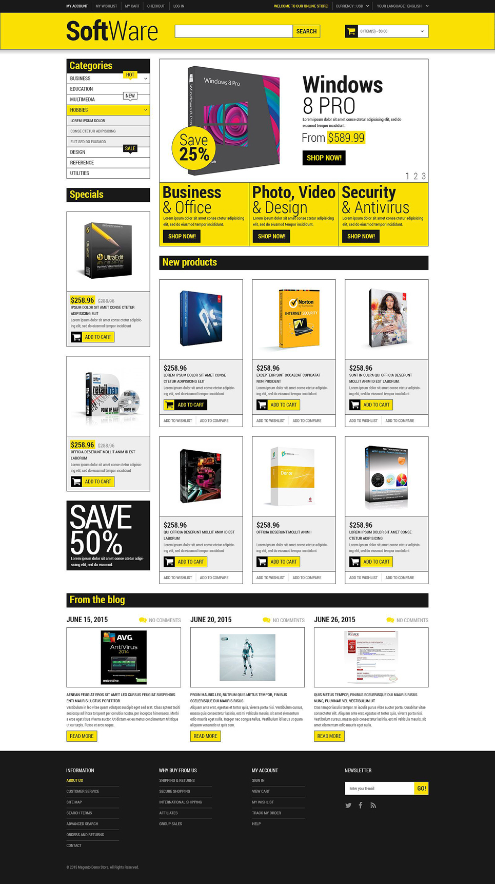 magento homepage template - software store magento theme properhost