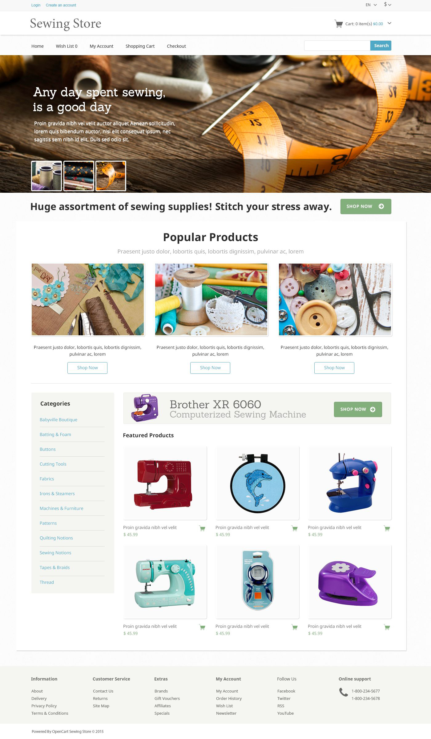 Sewing  Knitting OpenCart Template