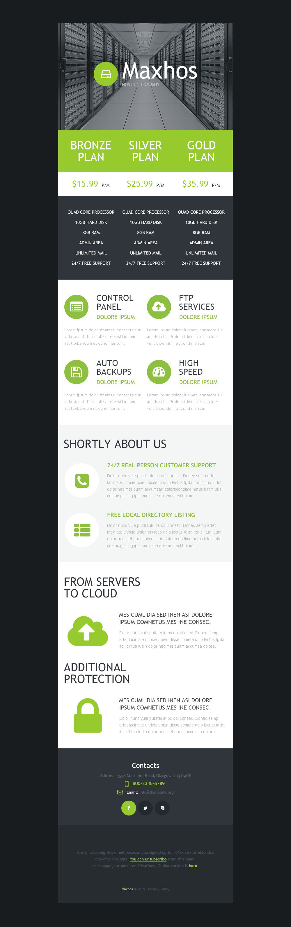 Hosting Responsive Newsletter Template