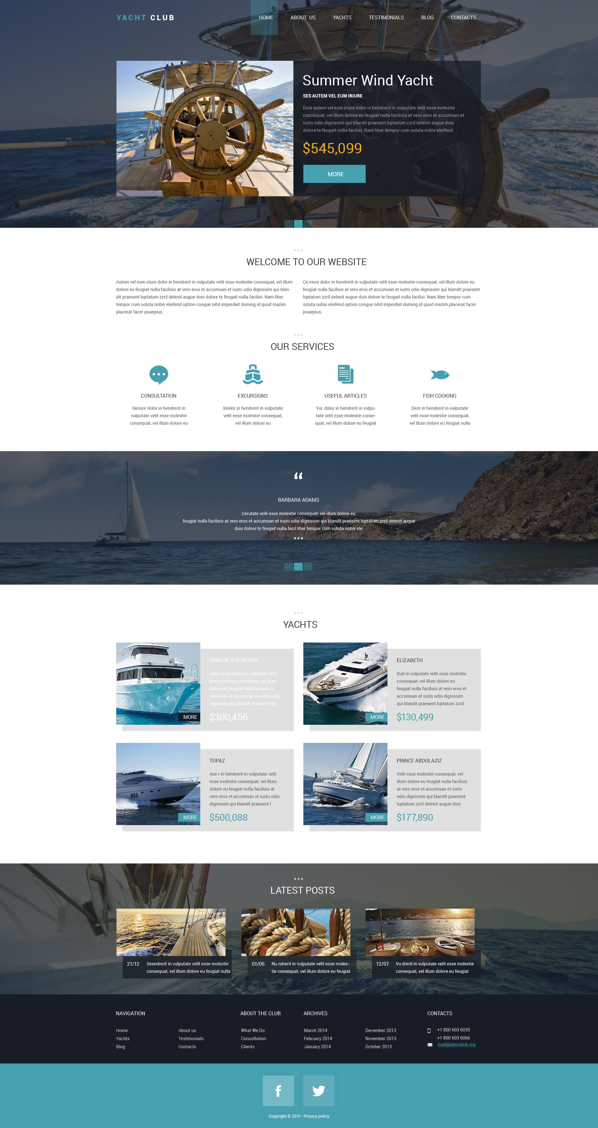 Yacht Club Drupal Template