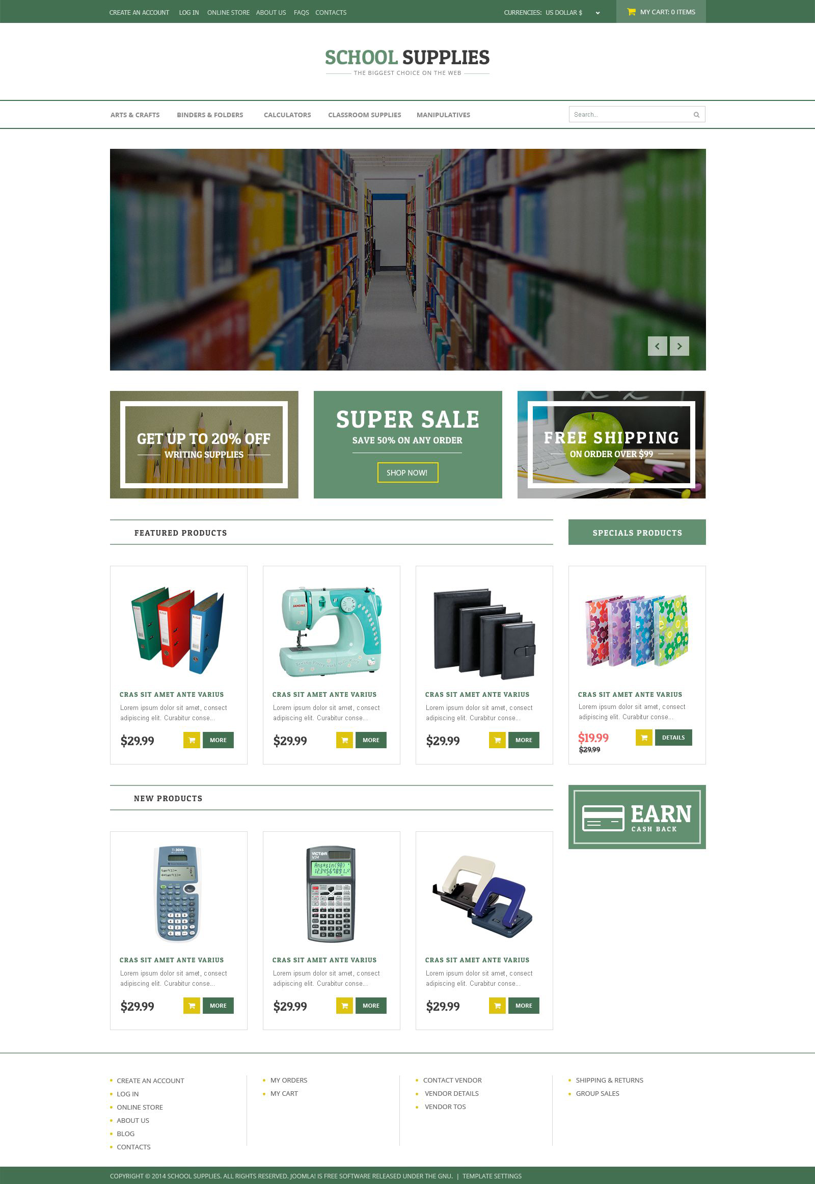 Back-to-School Goods VirtueMart Template