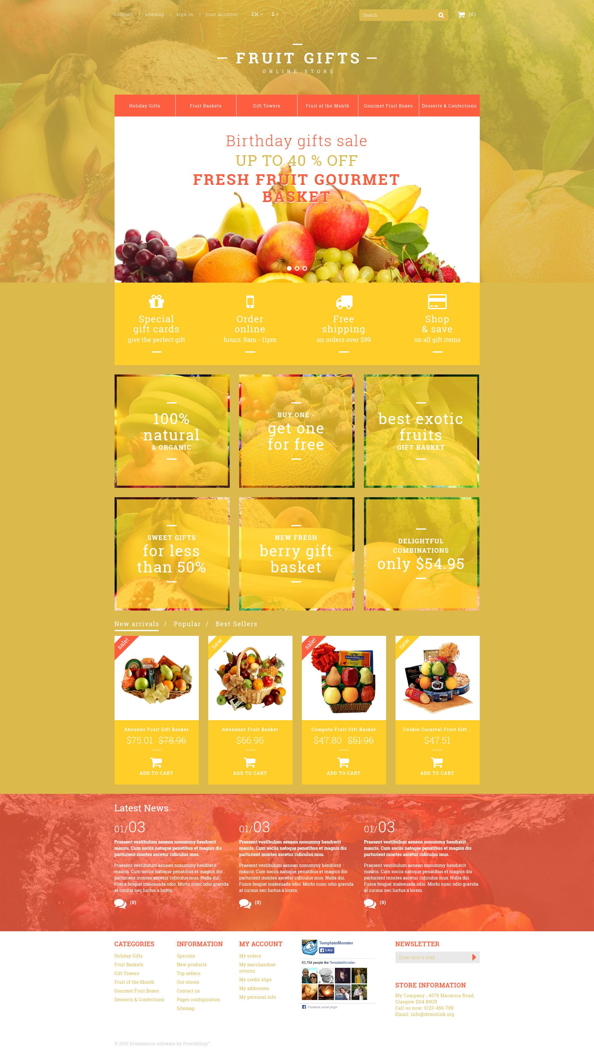 Fresh Fruit Gift Basket PrestaShop Theme