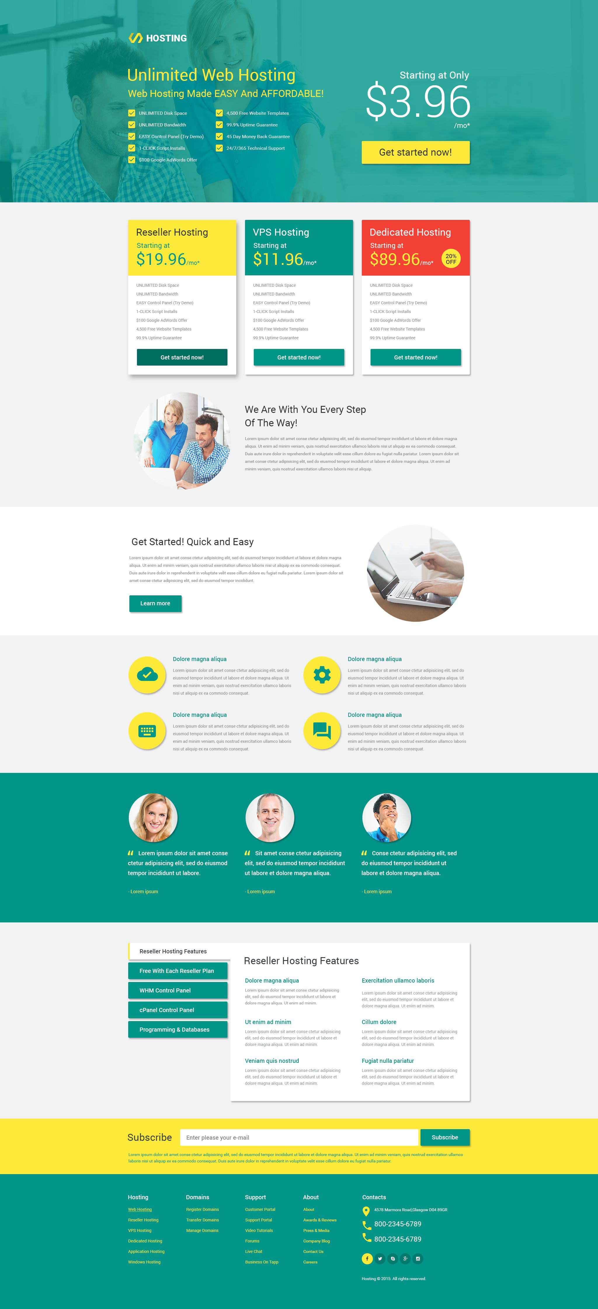 Hosting Responsive Landing Page Template