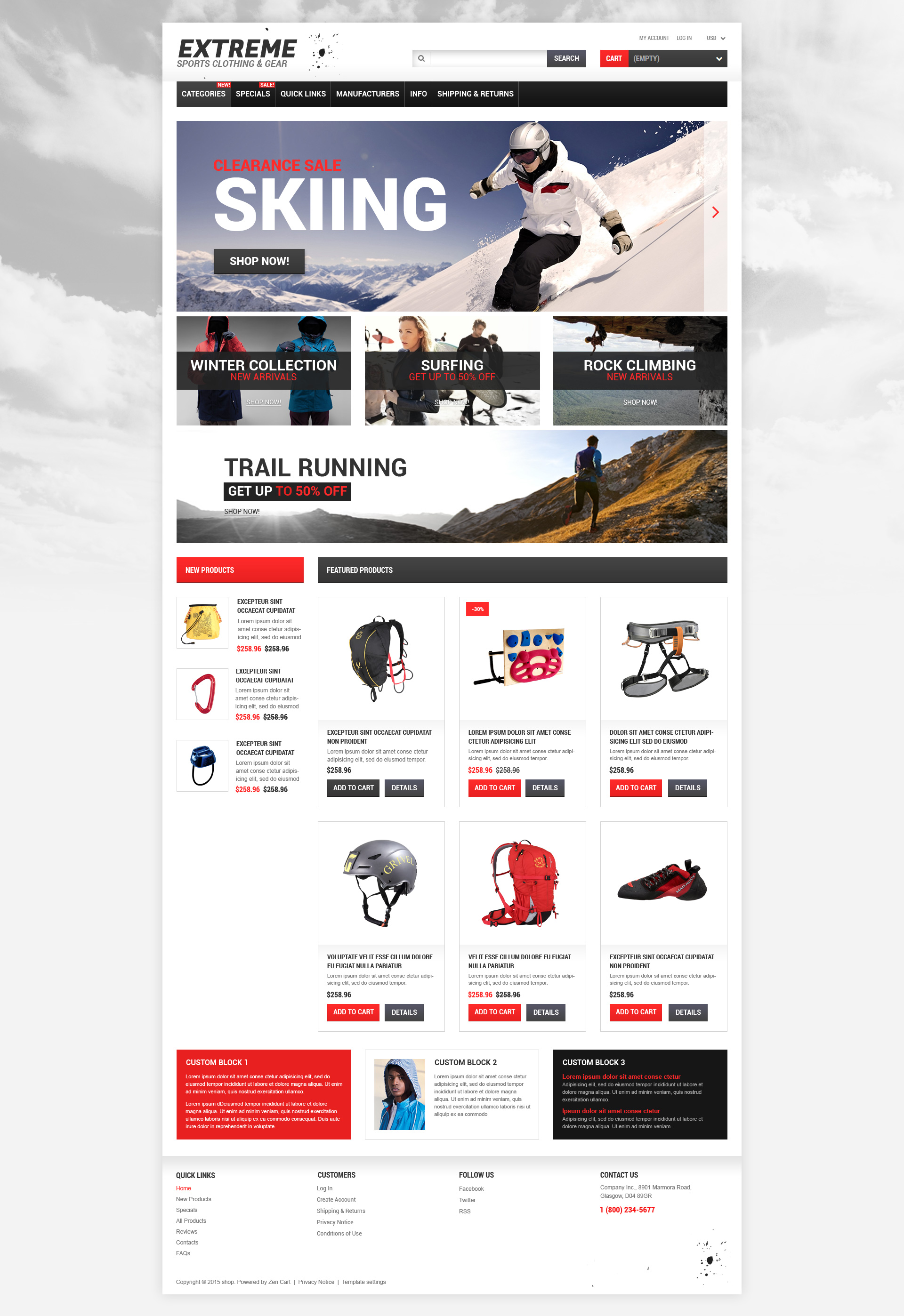 Extreme Sports Responsive ZenCart Template