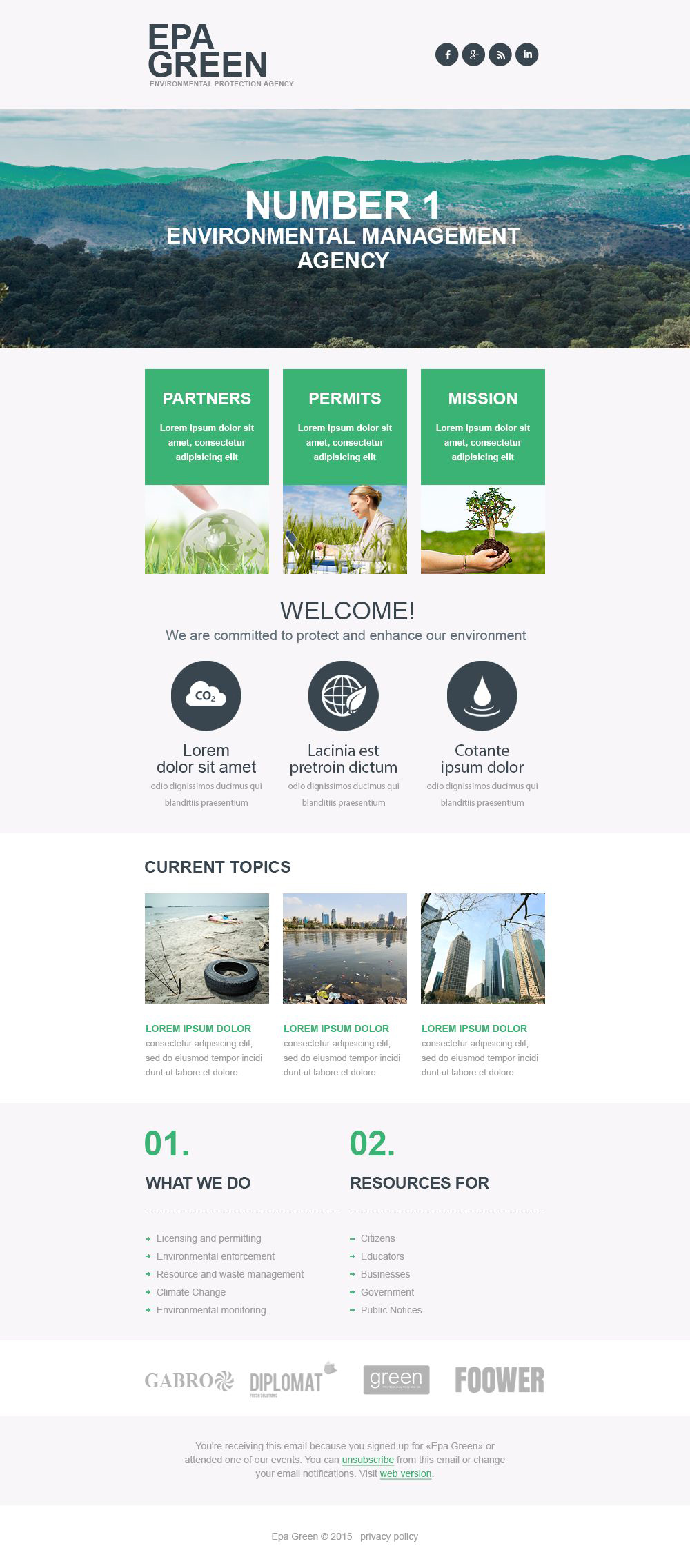 Environmental Responsive Newsletter Template
