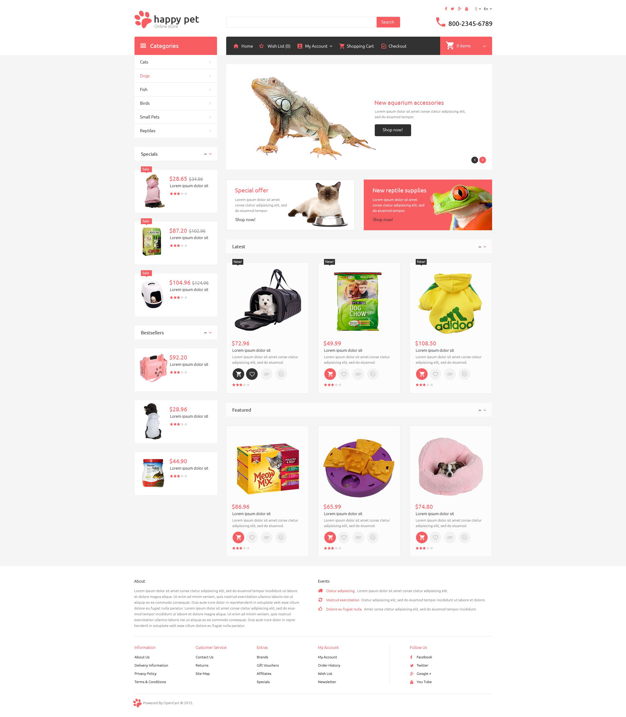 Pets OpenCart Template