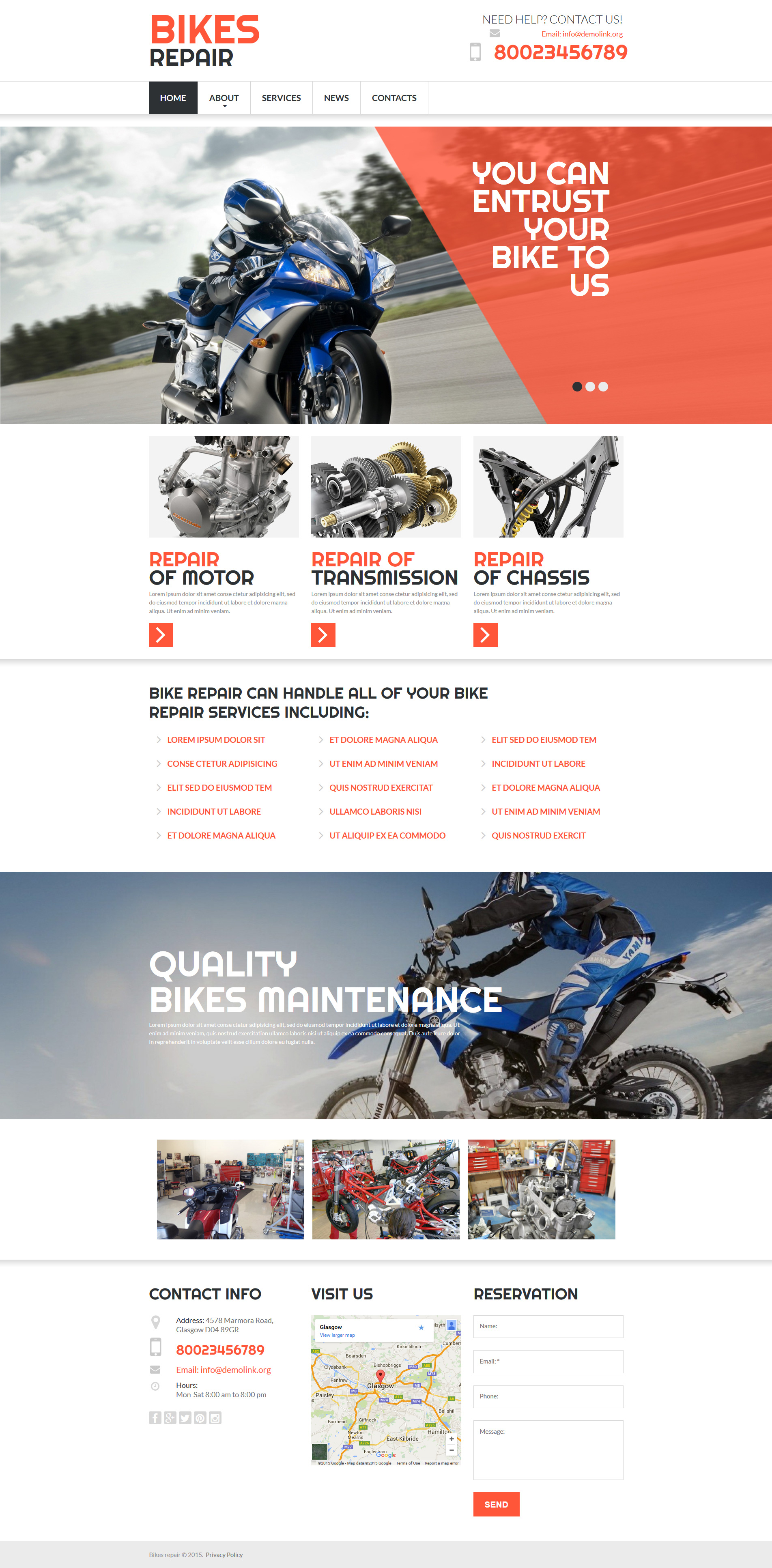 Bike Shop Moto CMS 3 Template