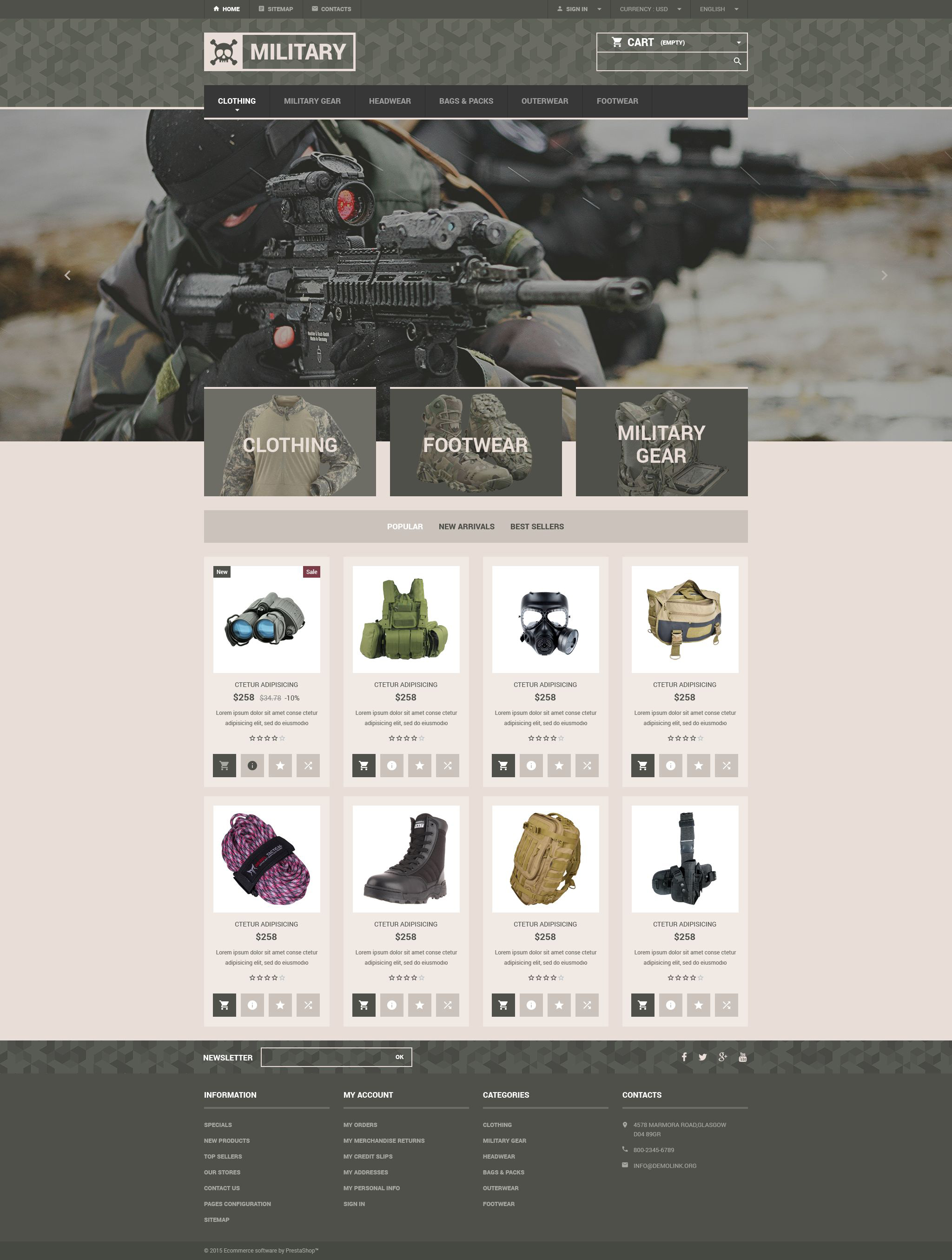 Military Gear Store PrestaShop Theme