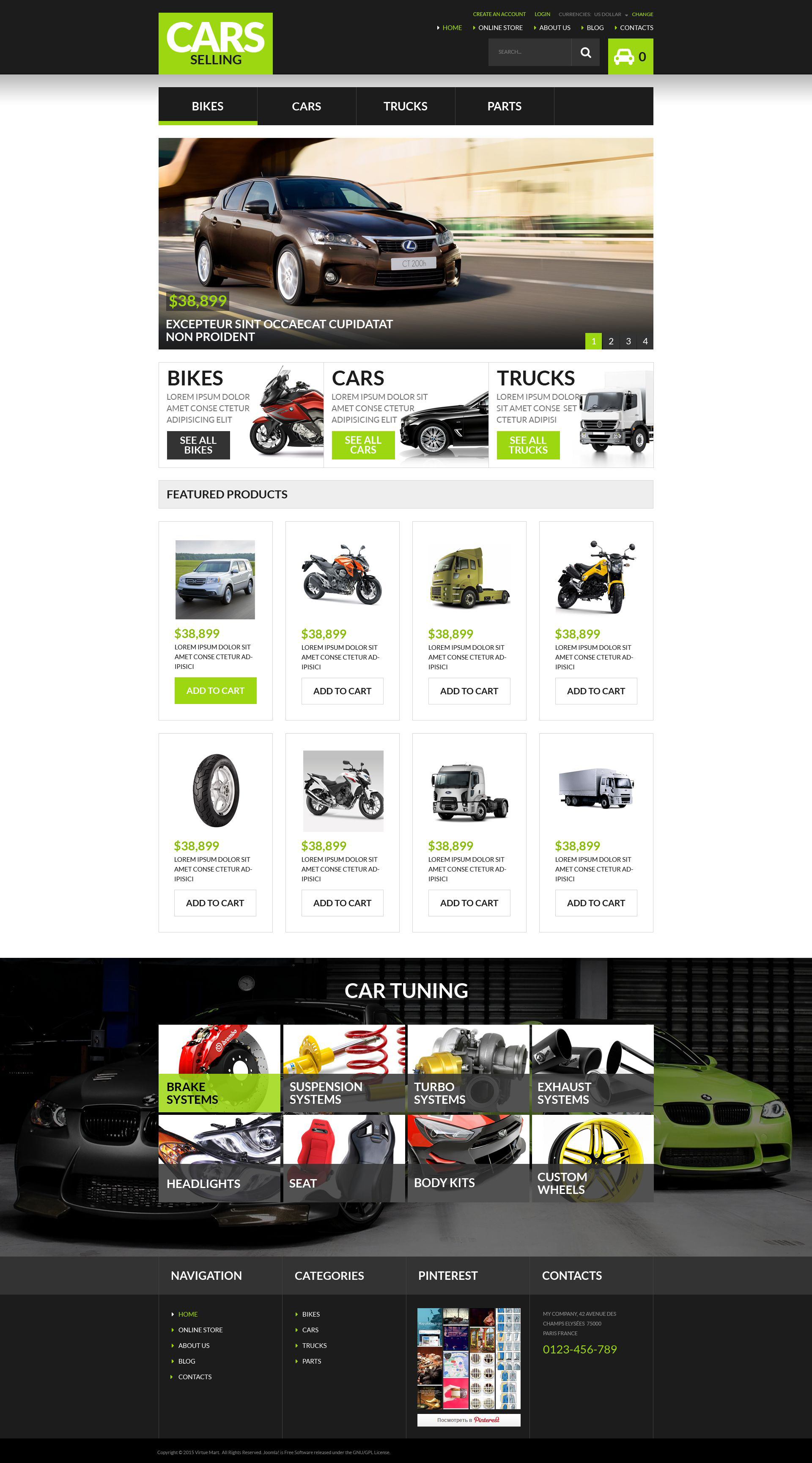 Auto Dealership VirtueMart Template