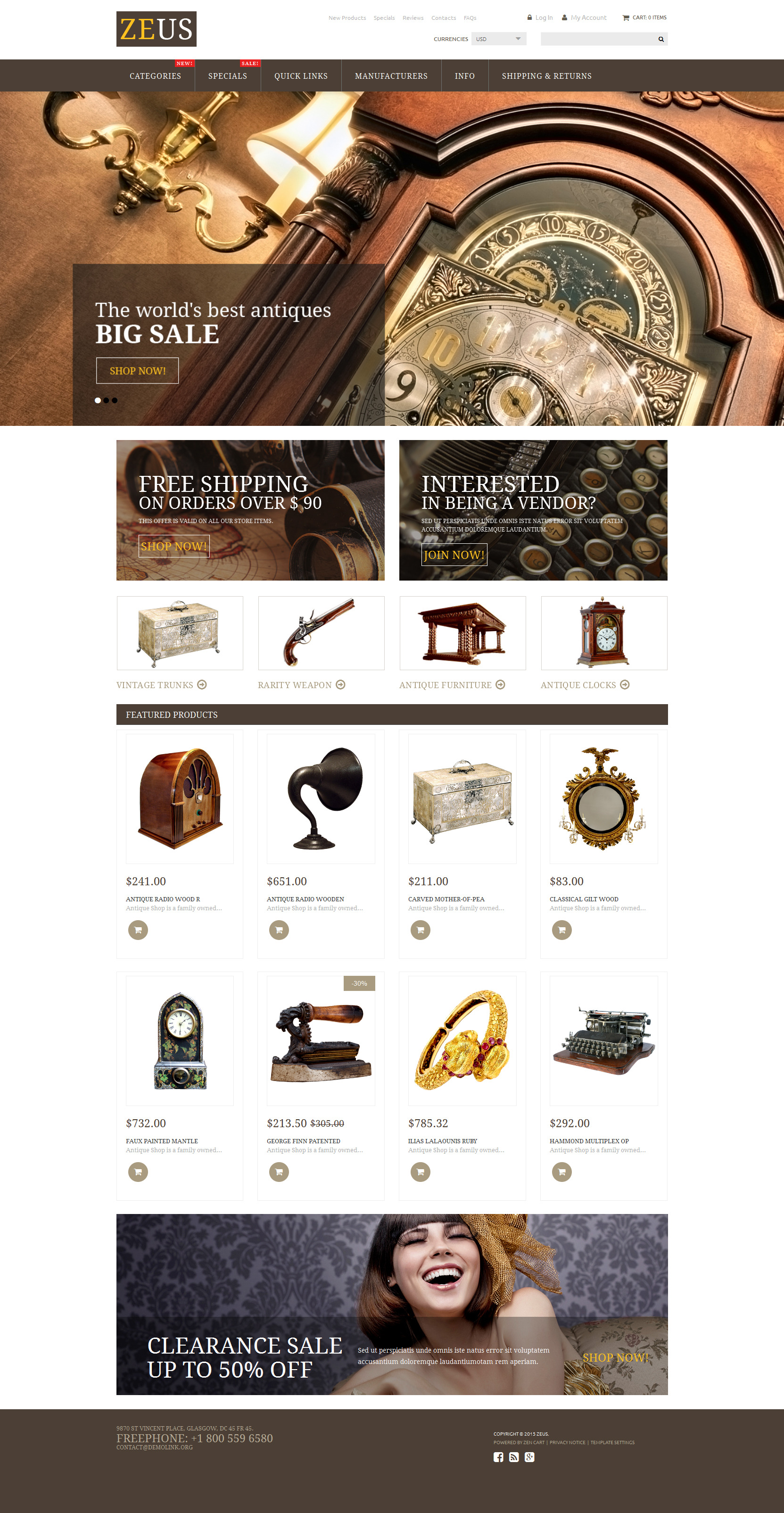 Antique Store ZenCart Template