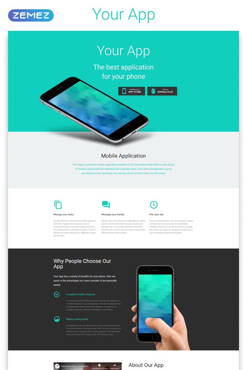Your App - Software Minimal HTML Landing Page Template