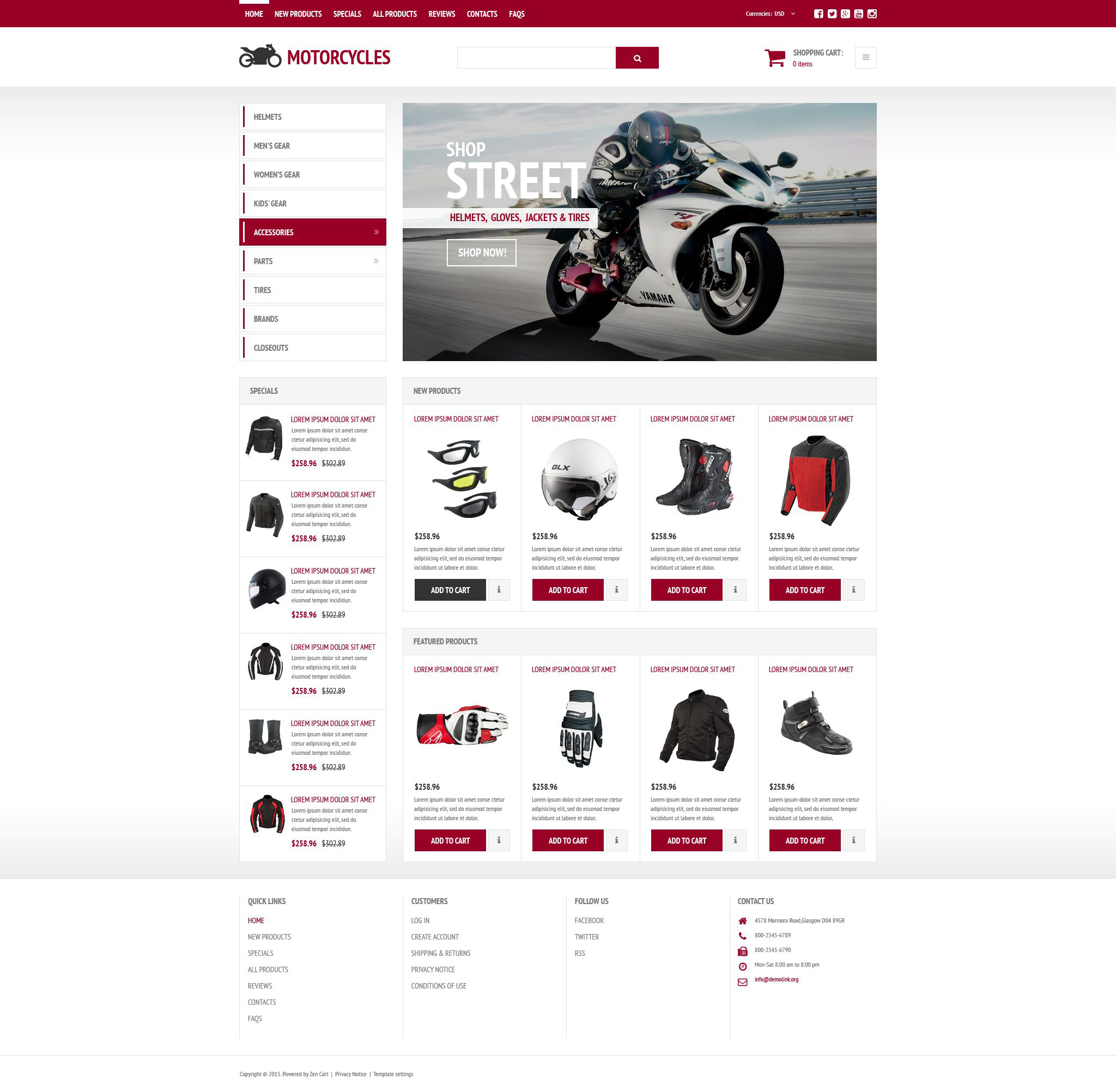 Stylish Online Shop ZenCart Template
