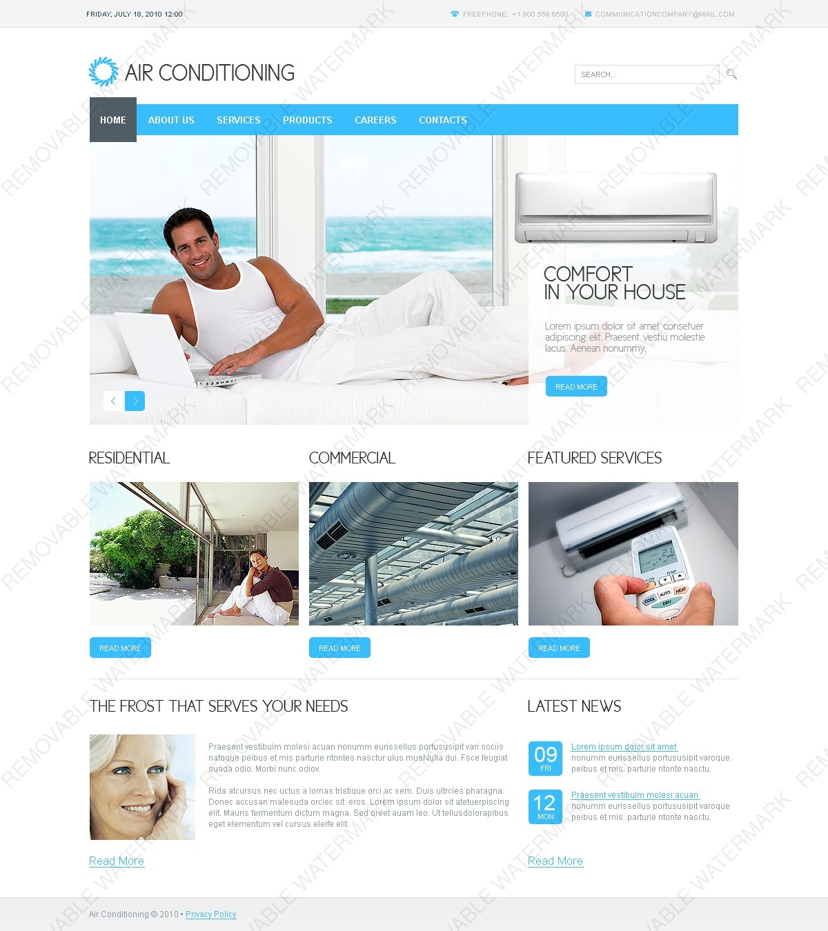 air conditioning psd template 54464 by wt psd templates. Black Bedroom Furniture Sets. Home Design Ideas
