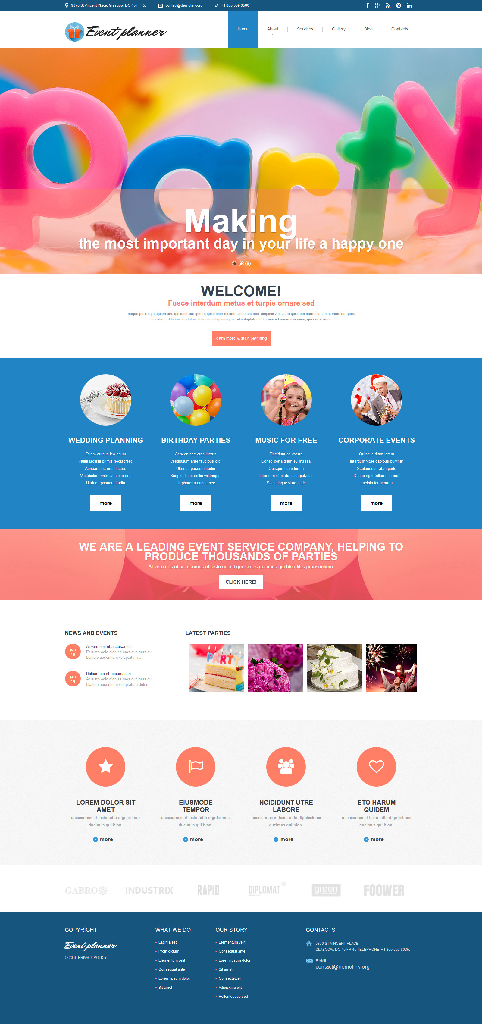 Party Planner Website Template from scr.template-help.com