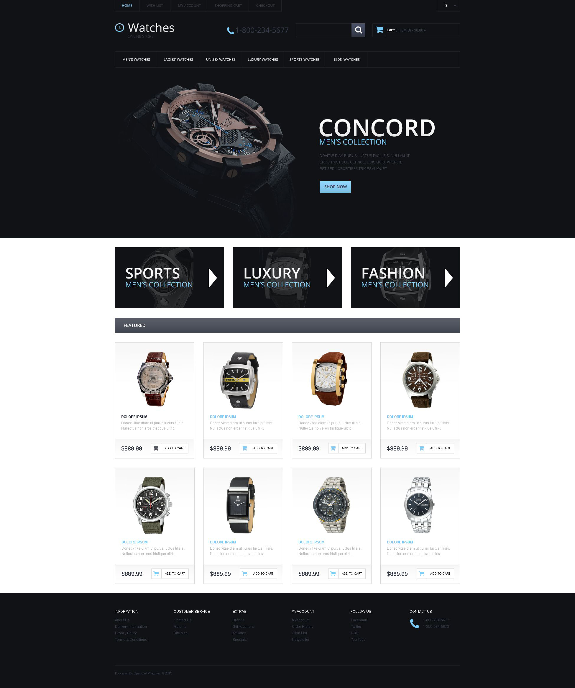Watches Responsive OpenCart Template