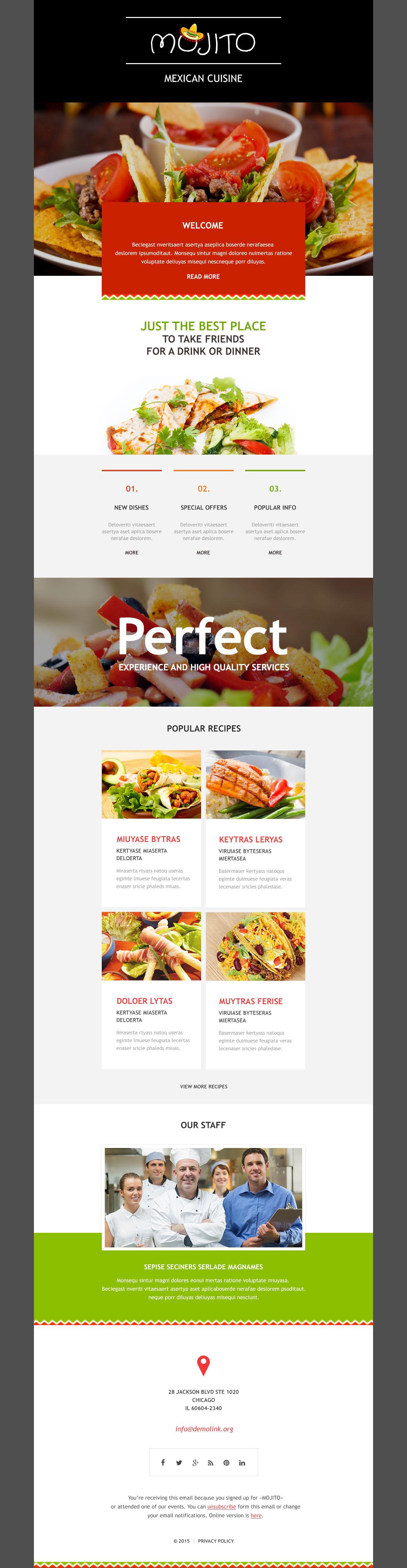 Mexican Restaurant Responsive Newsletter Template